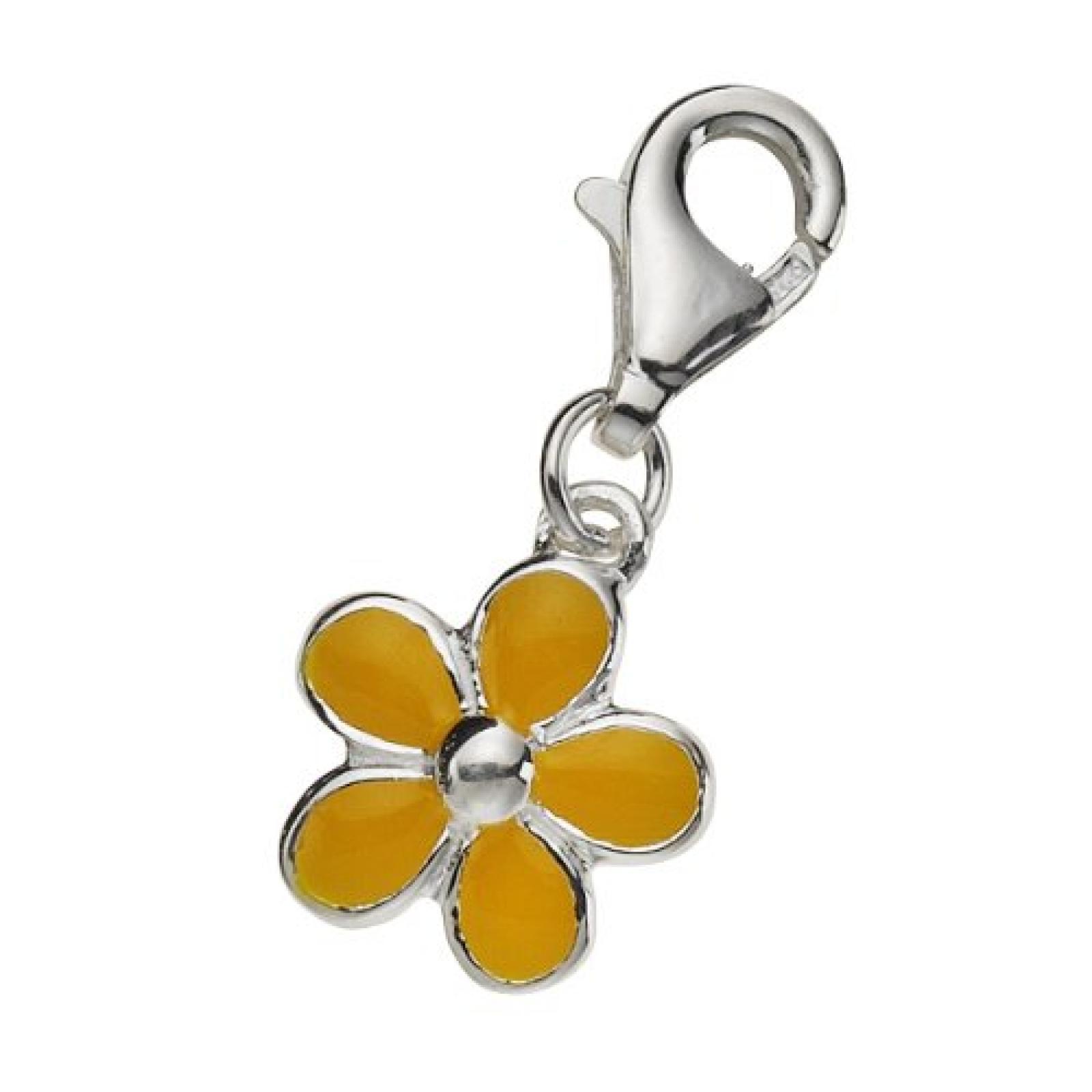 Zeeme Damen-Anhänger 925/- Sterling Silber Mit Gelbem Lack Blume 280240042