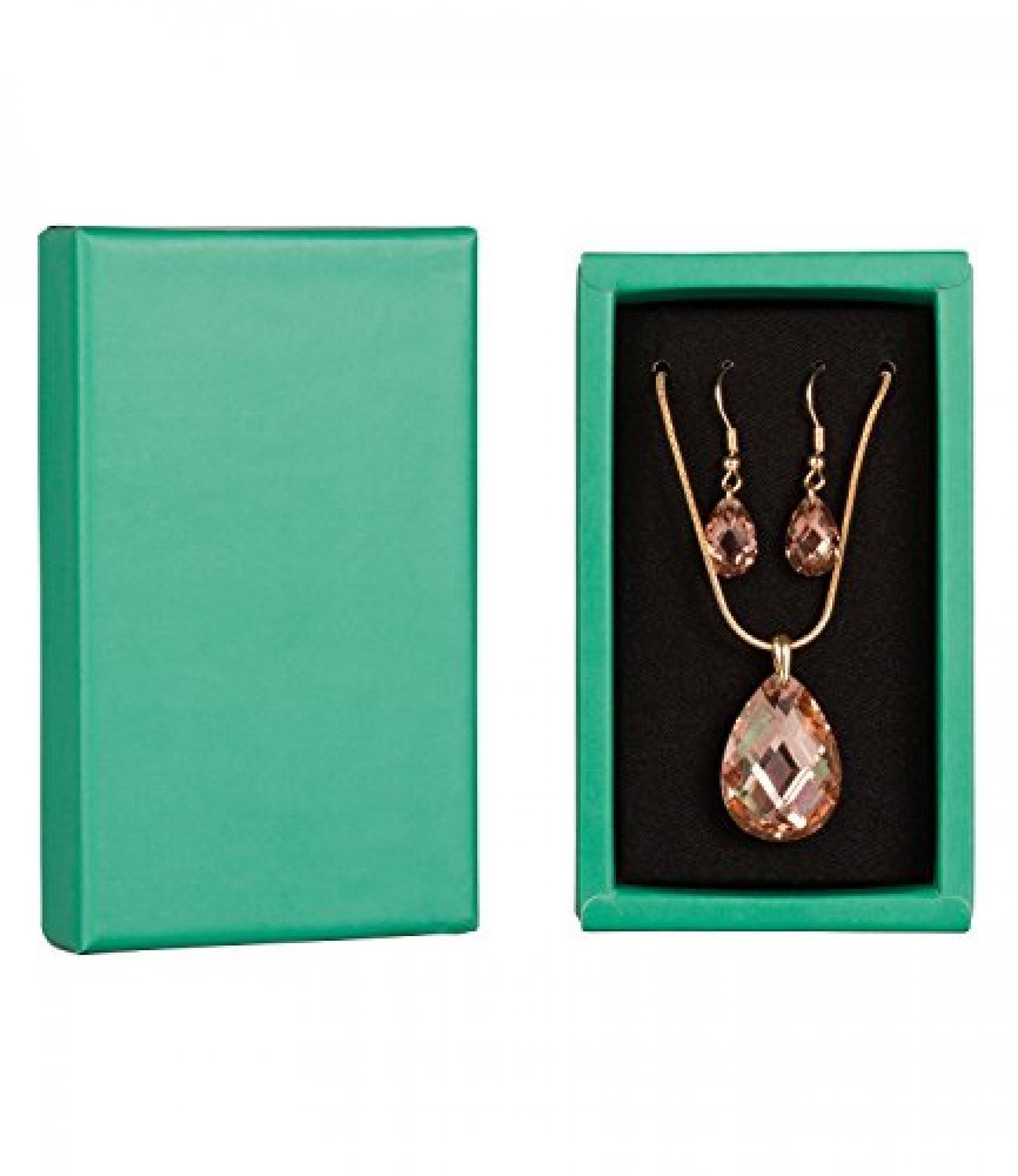 "SIX ""Xmas Sets"" Geschenk Box mit Kette & Ohrhängern, gold, rosa, Kristall (388-239)"