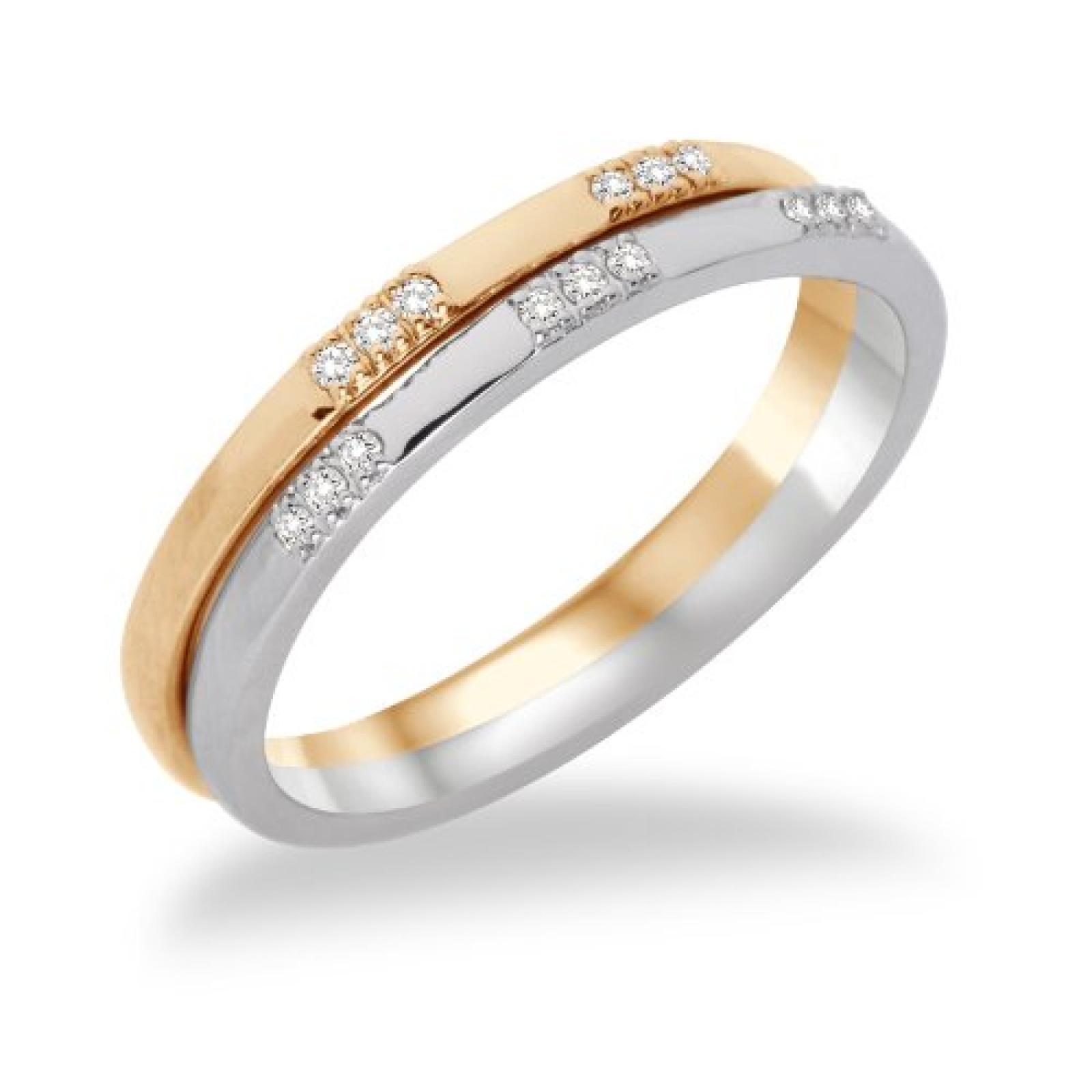 Miore Damen-Ring 2-teilig 750 weiß-/Gelbgold mit Brillanten MF8007RM