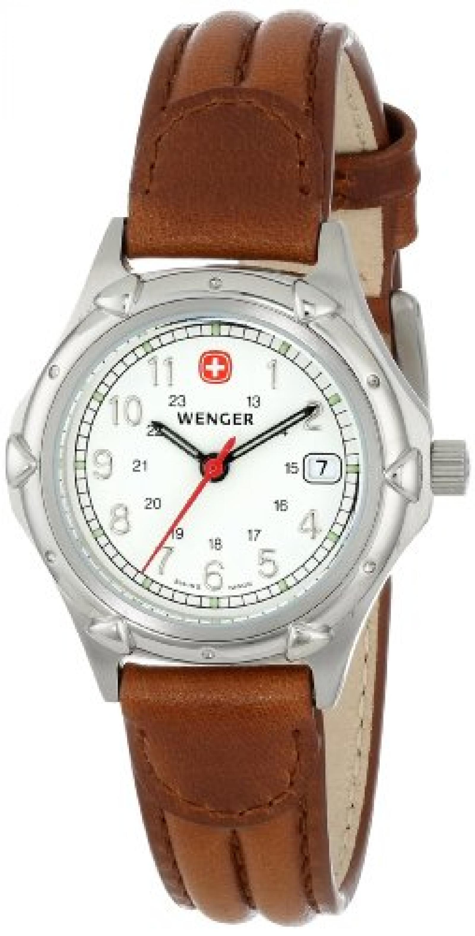 Wenger Womens 70200 Standard Issue White Dial Brown Lederarmbanduhr
