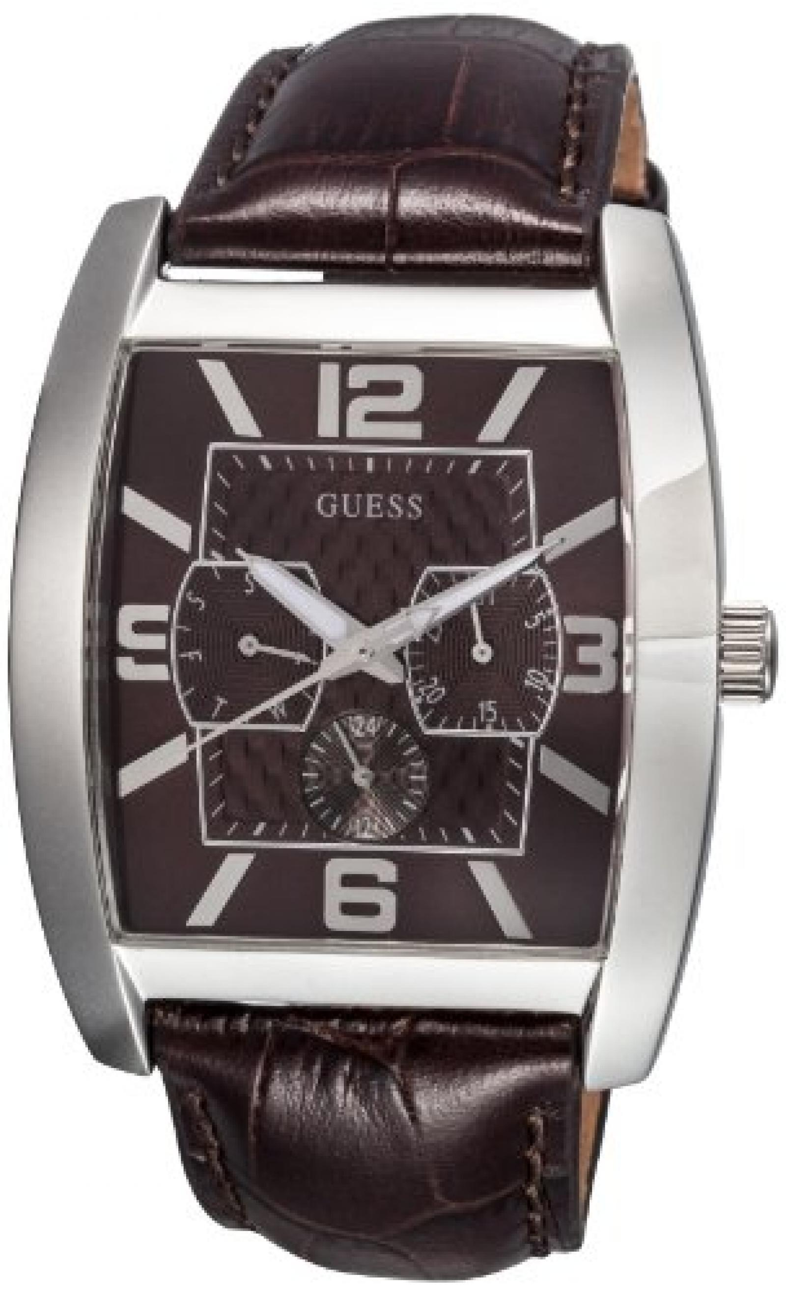 Guess Herren-Armbanduhr XL Power Broker Chronograph Quarz Leder W80009G2