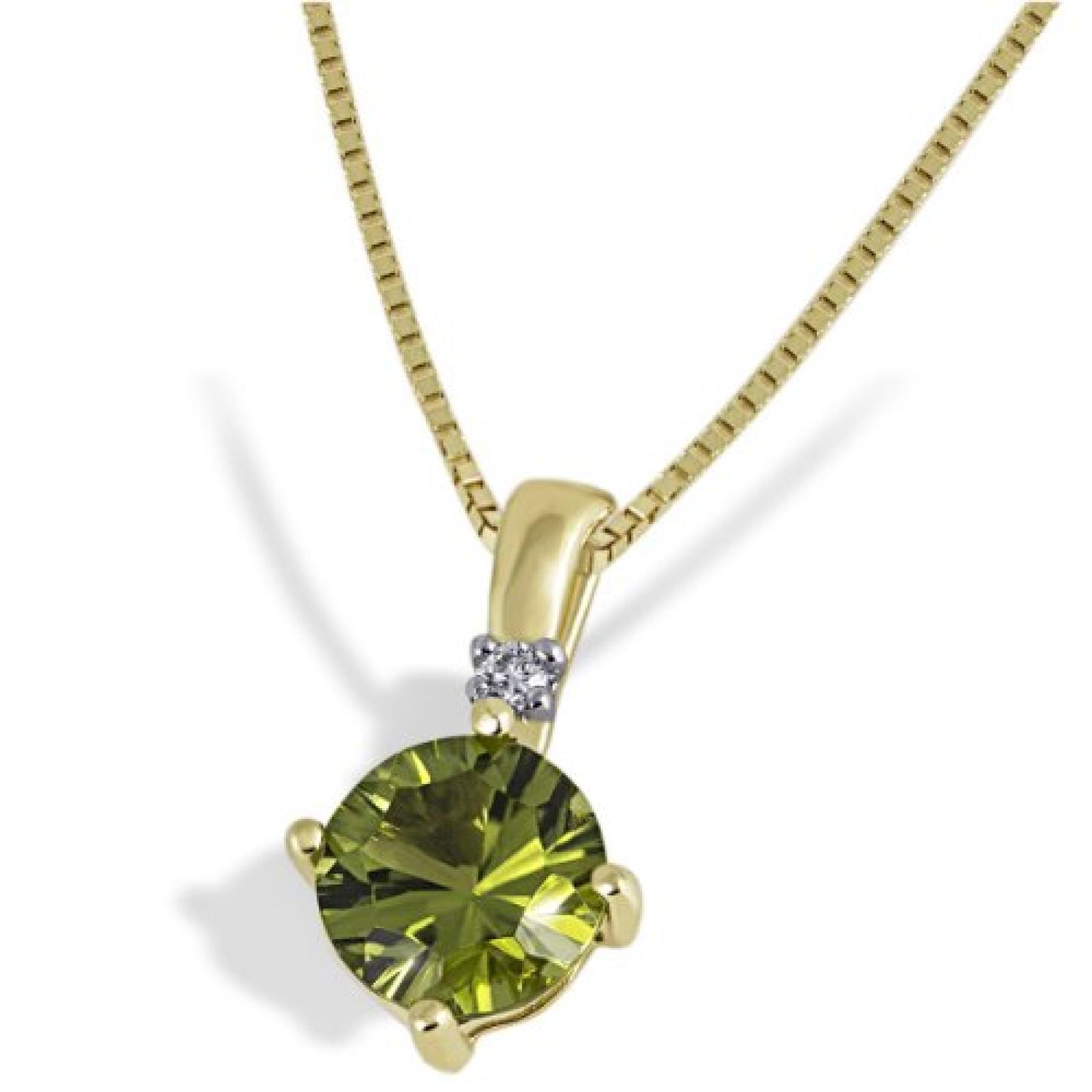 goldmaid Damen-Halskette 333 Gelbgold 1 Peridot 1 Brillant 0,03ct C973GG