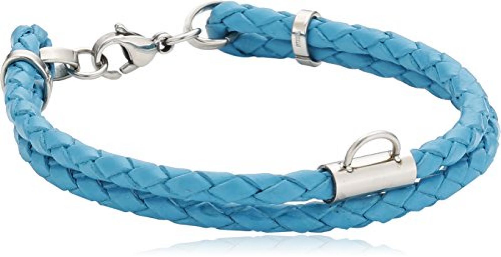 Zeeme Damen-Armband Geflochten Türkis 2-Reihig Für Charms Edelstahl 060060003-8-19