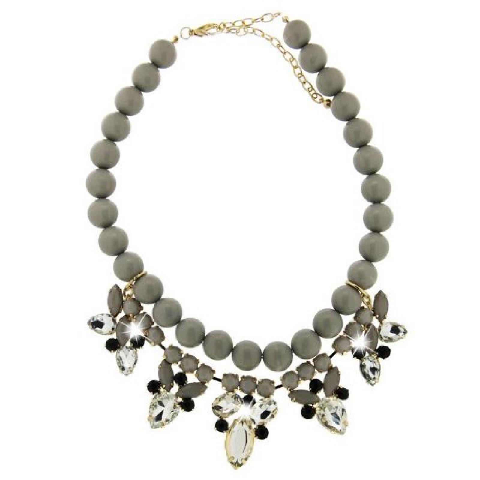 Sweet Deluxe Damen Halskette Metall rhodiniert Acryl 6 cm silber 3048