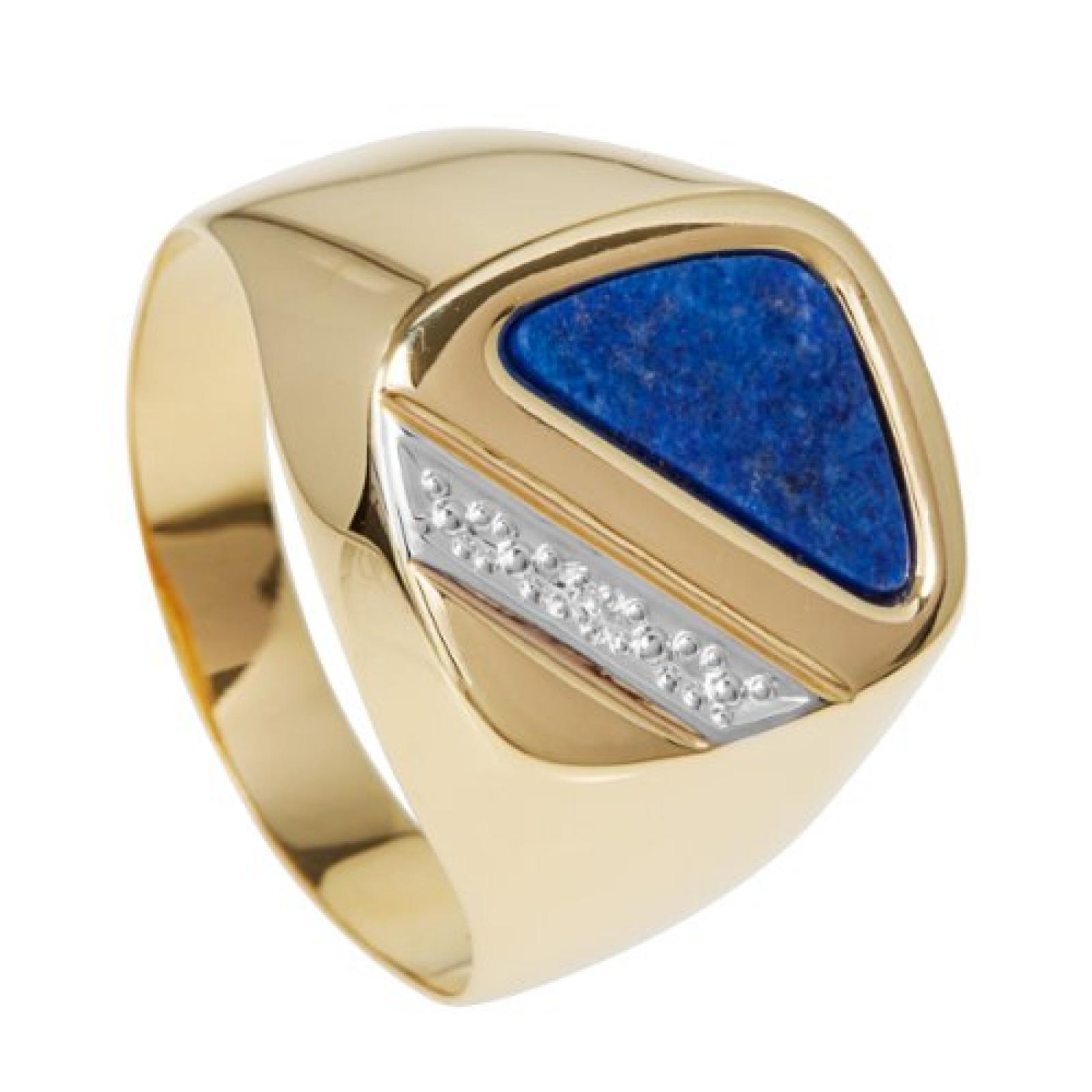 Bella Donna Herren-Ring Gelbgold teilrhodiniert 1 Diamant 0,005ct. weiß Piqué1 1 Lapis Dreieck