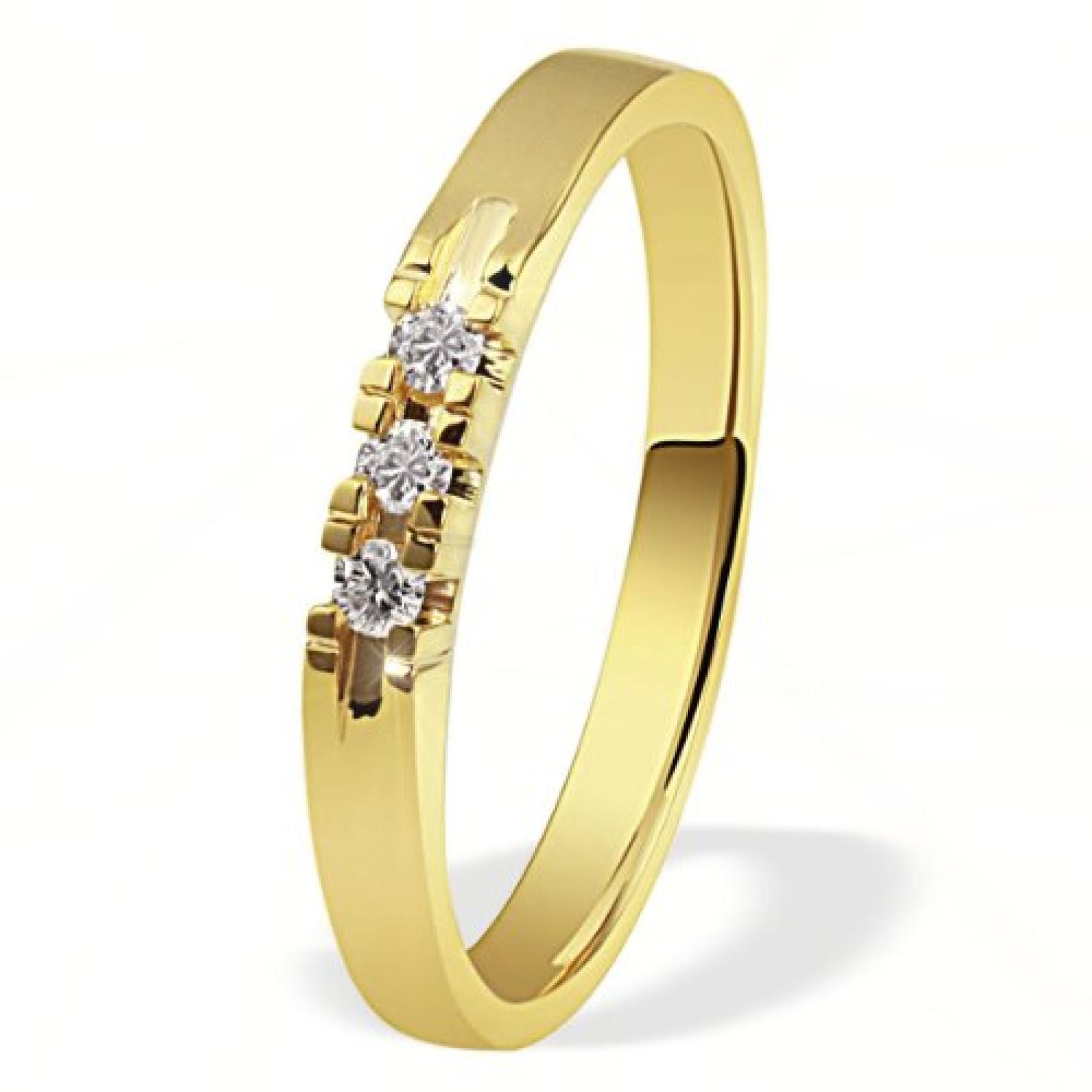 Goldmaid Damen-Ring 585 Gelbgold 3 Brillanten 0,09ct Memoire Me R4716GG