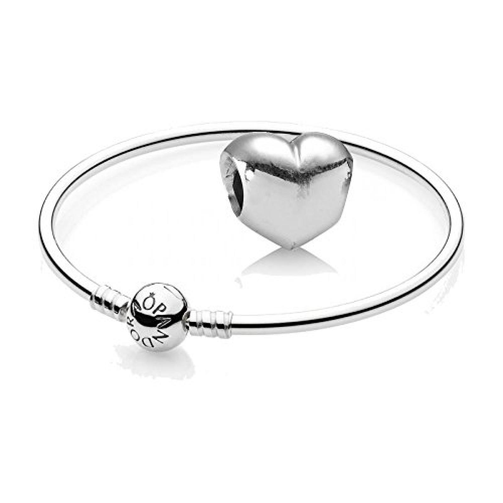 Original Pandora Geschenkset - 1 Silber Armreif 590713 und 1 Silber Element Glattes Herz 790137