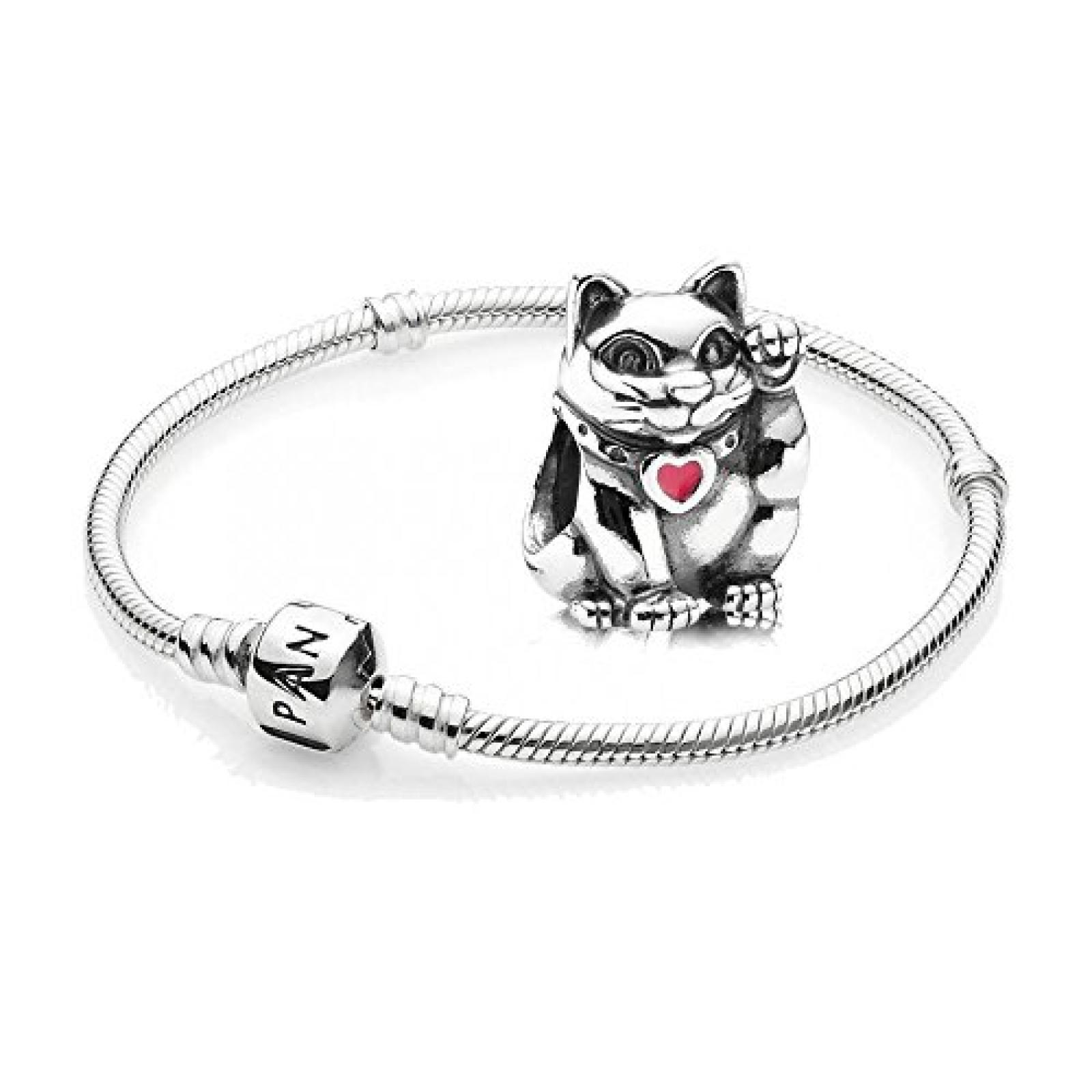 Original Pandora Geschenkset - 1 Silber Armband 590702HV und 1 Silber Element Rote Winkekatze mit roter Emaille 790989EN05