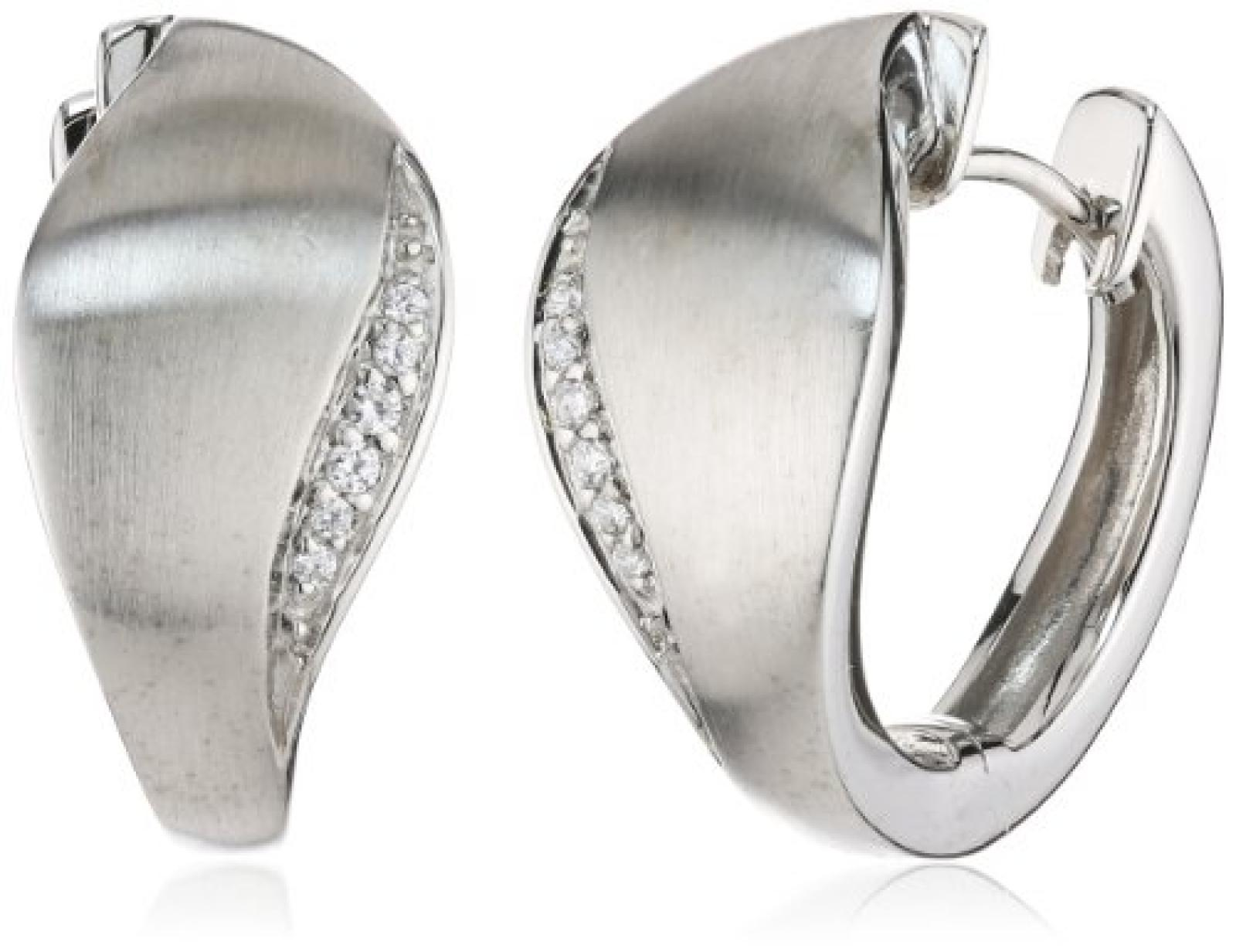Viventy Damen-Creolen 925 Sterling Silber mit 12 Zirkonia in weiss 763994