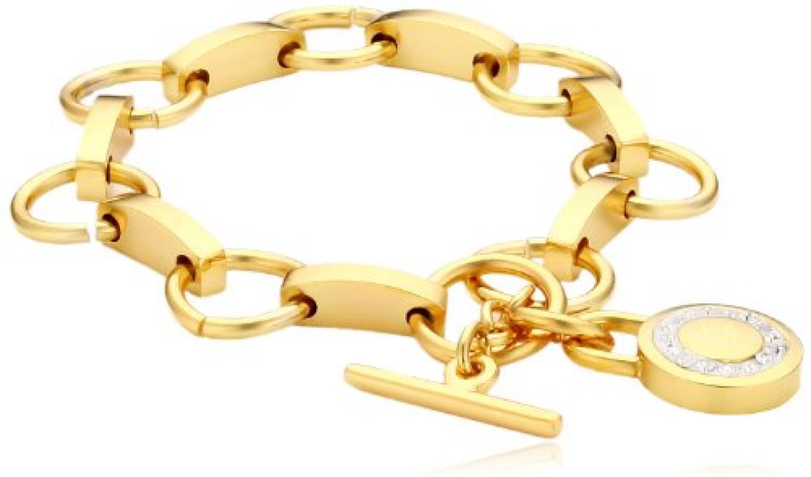 Mike Ellis New York Damen Armband Edelstahl Zirkonia 19.0 cm gold S191 IPG
