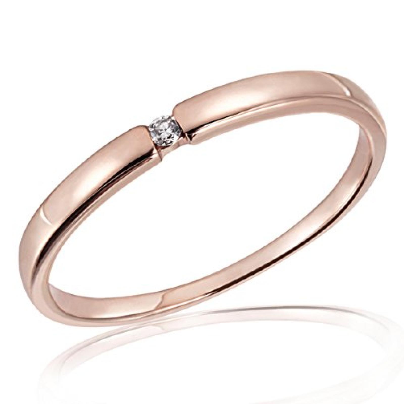 Goldmaid Damen-Ring 8 Karat 333 Rotgold Solitär Spannfassung 1 Brillant 0,03 ct. So R4696RG