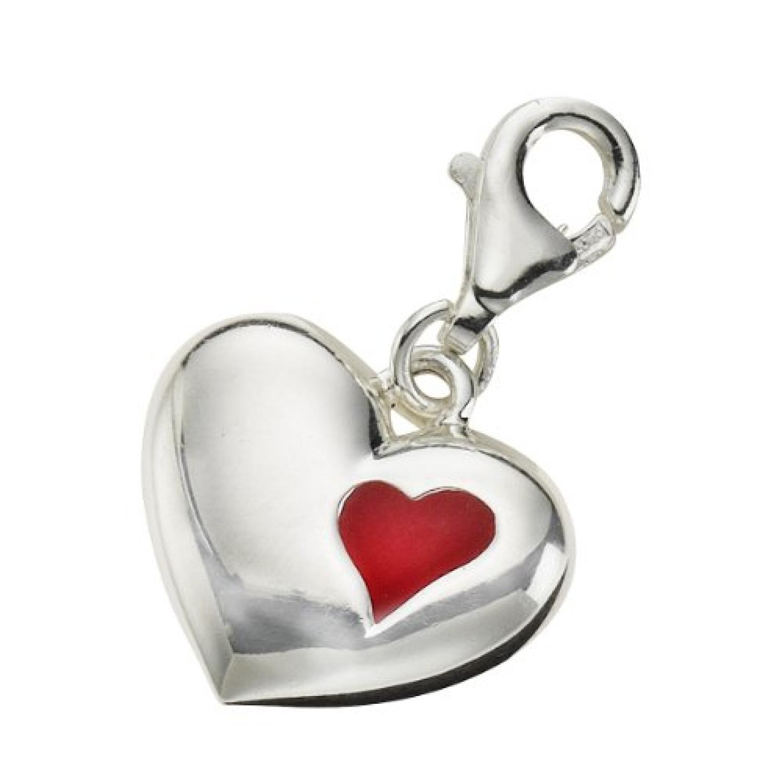 Zeeme Damen-Anhänger 925/- Sterling Silber Mit Rotem Lack Herz 280240041