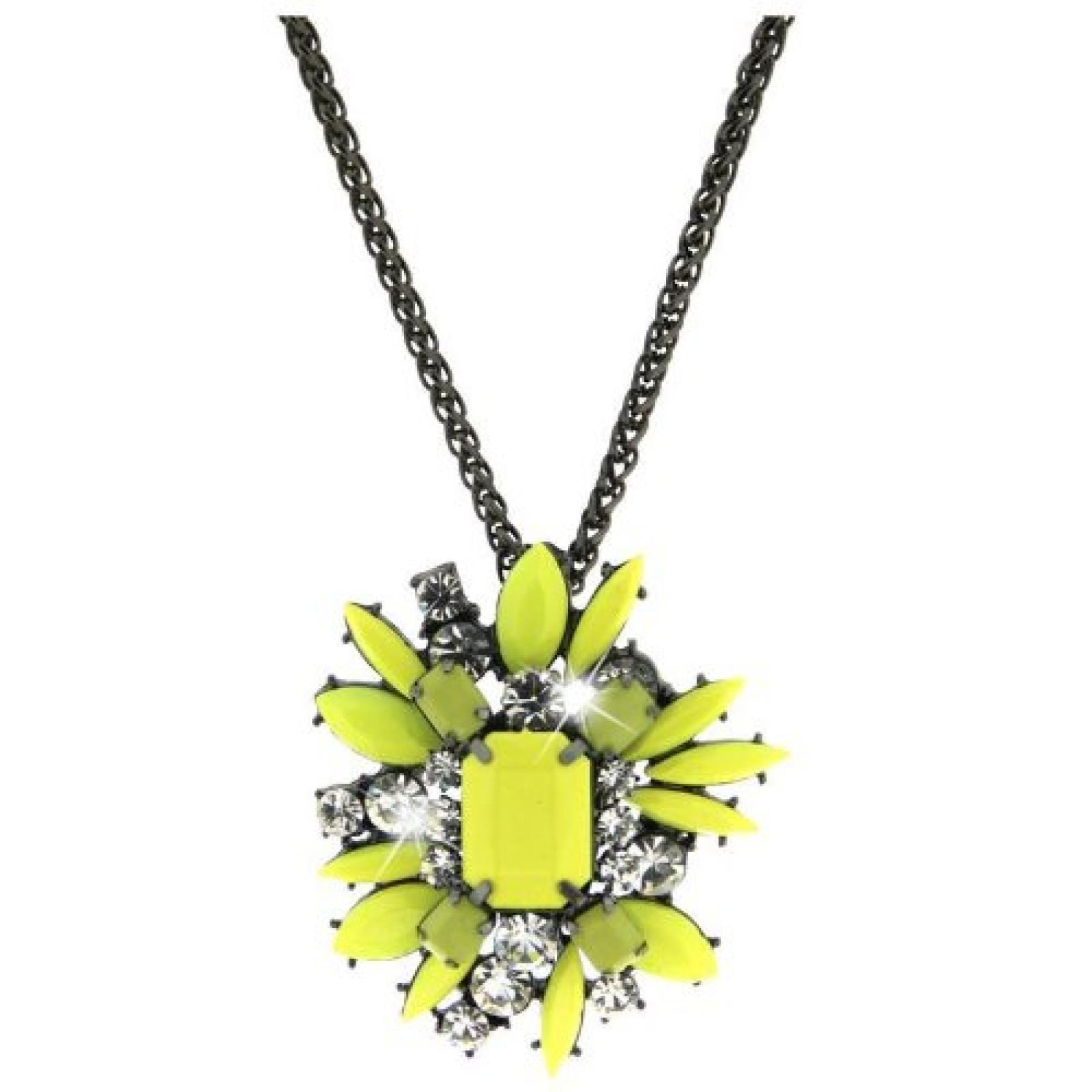 Sweet Deluxe Damen Halskette Metall rhodiniert Glas 45 cm gunmetal/grün/crystal 3073