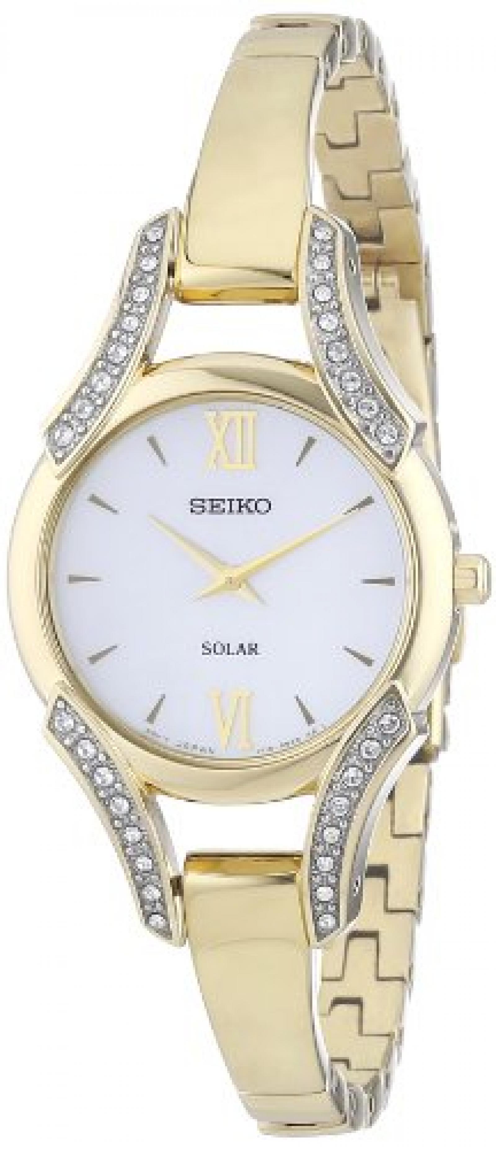 Seiko Damen-Armbanduhr XS Analog Quarz Edelstahl beschichtet SUP216P1