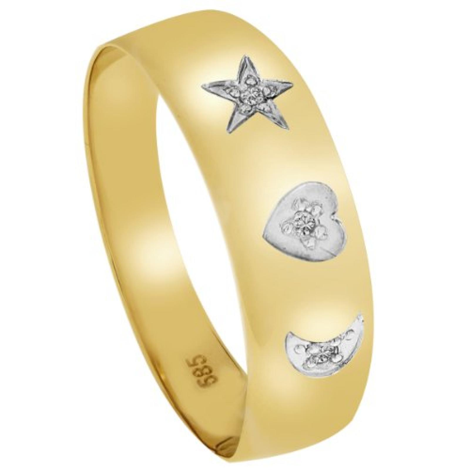 Bella Donna Damen-Ring 585 Gelbgold teilrhodiniert 3 Diamanten
