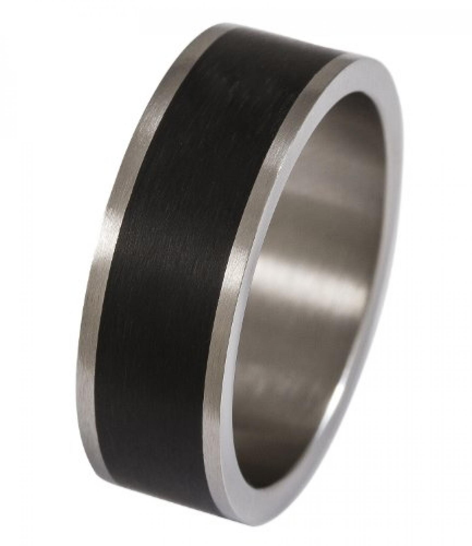 SIX MAN silberner Edelstahl-Ring in Gr.62 mit breitem, schwarzem Streifen (110-856 )