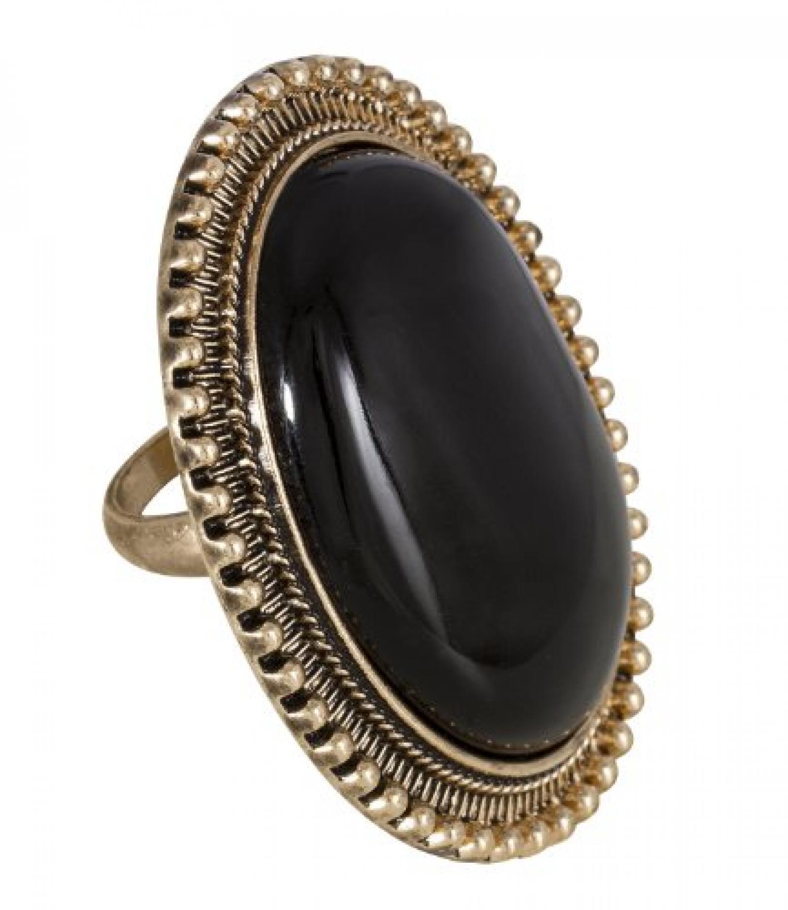 """SIX """"African Desert"""" goldener Ring mit großem, schwarzem Stein (377-766)"""