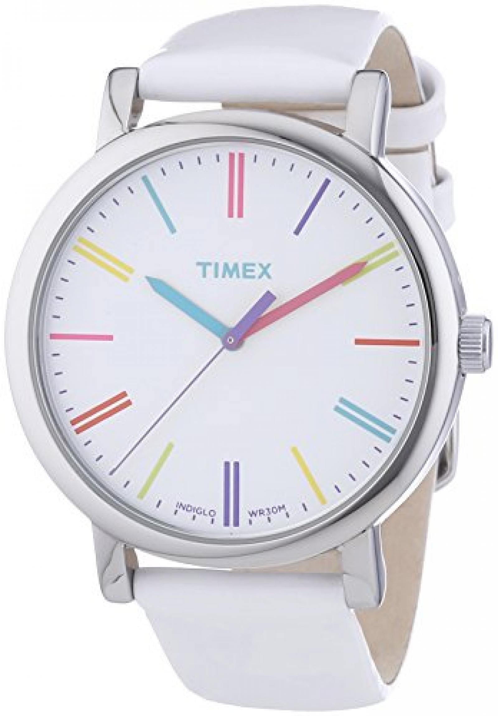 Timex Damen-Armbanduhr Timex Style Analog Leder weiß T2N791D7