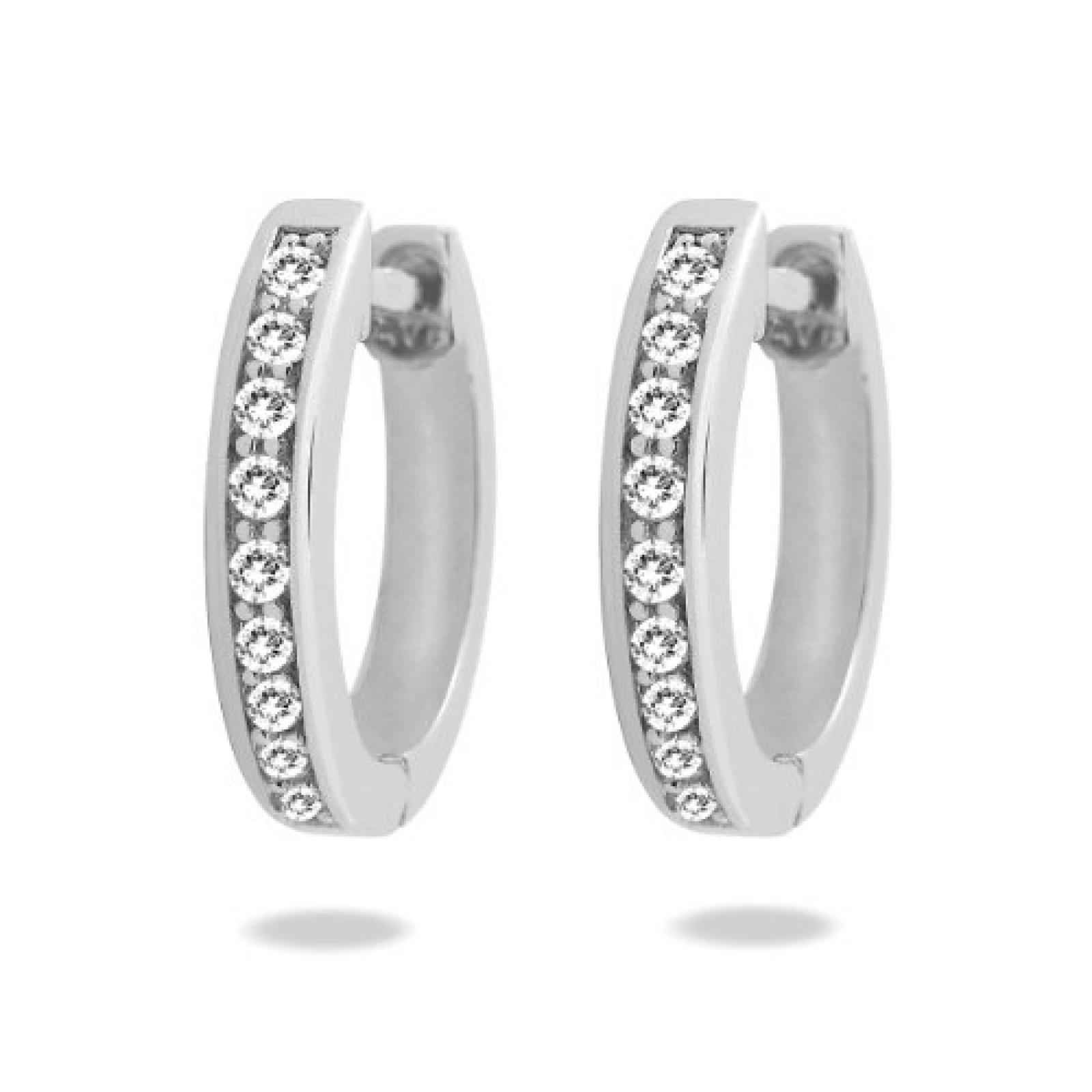 Rafaela Donata Damen-Creolen Classic Collection Zirkonia weiß 925 Sterling Silber 60837065