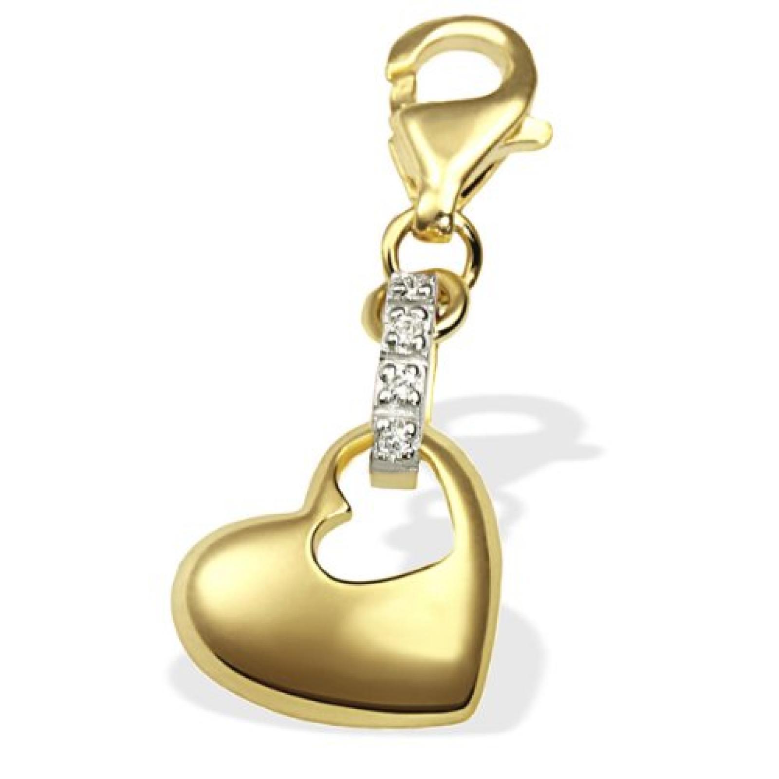 Goldmaid Damen-Charm Herz 333 Gelbgold 4 Diamanten Gch A4411GG