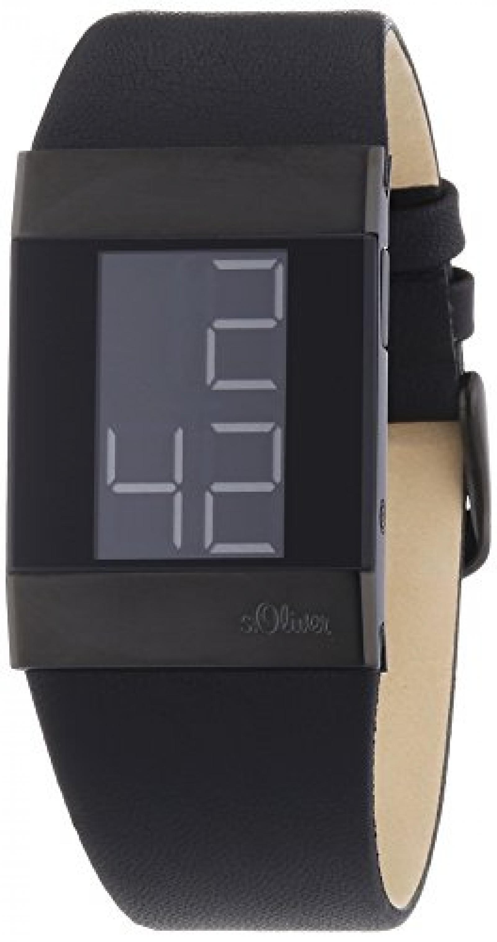 s.Oliver Herren-Armbanduhr Digital Leder SO-2421-LD