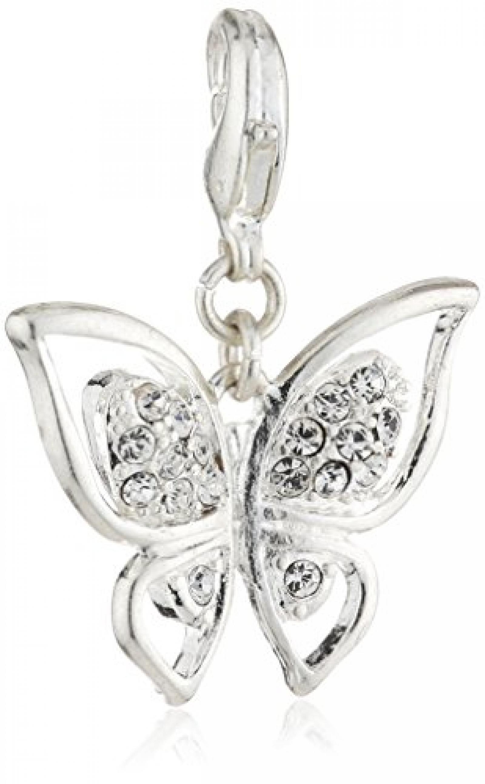 Pilgrim Jewelry Damen-Anhänger Messing aus der Serie versilbert,weiß 3 cm 401326001