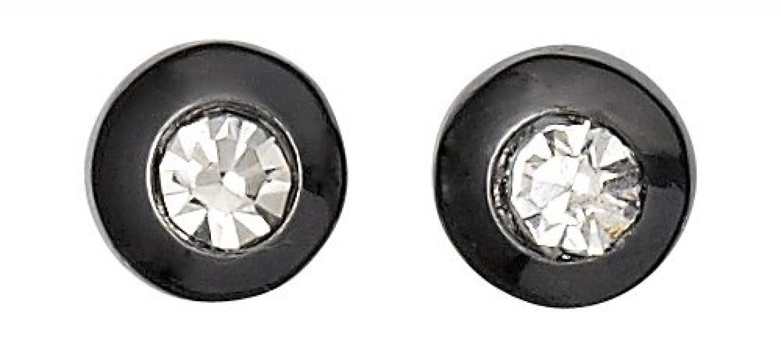 Pilgrim Jewelry Damen-Ohrstecker aus der Serie Classic hematite beschichtet weiß 0.6 cm 601313013