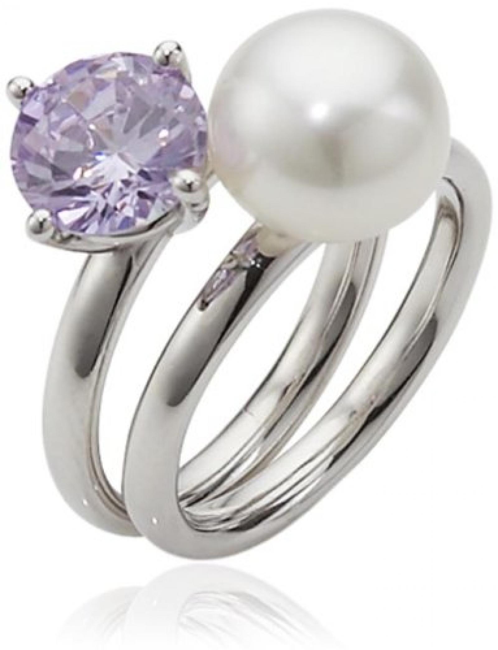 Adriana Damen-Ring Süßwasser Zuchtperlen purple rain 925 Sterling-Silber Rainbow RAR-V-Gr.56
