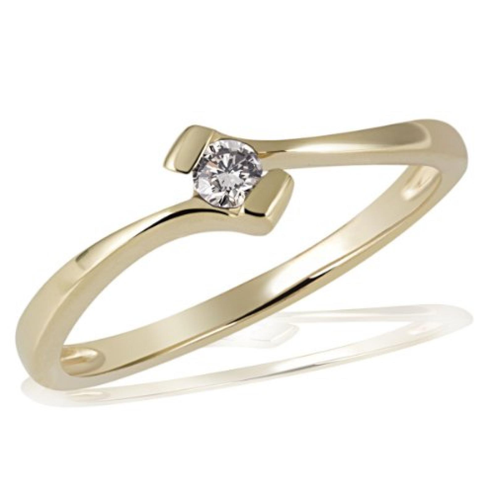 Goldmaid Damen-Ring 18 Karat 750 Gelbgold Verlobung Solitär 1 Brillant 0,10 ct. So R3925GG750