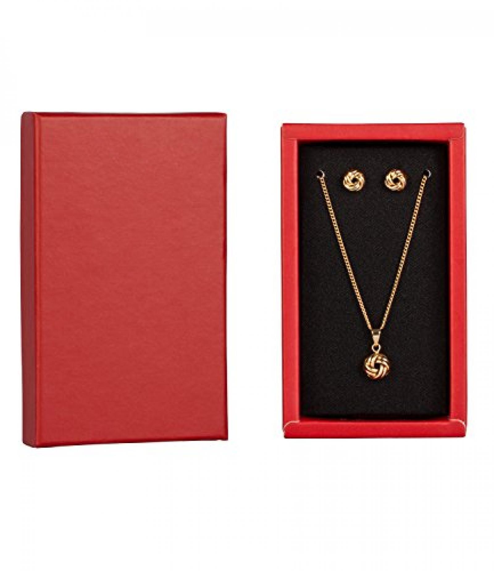 "SIX ""Xmas Sets"" Geschenk Box mit Kette & Ohrsteckern, gold, Knoten (388-241)"