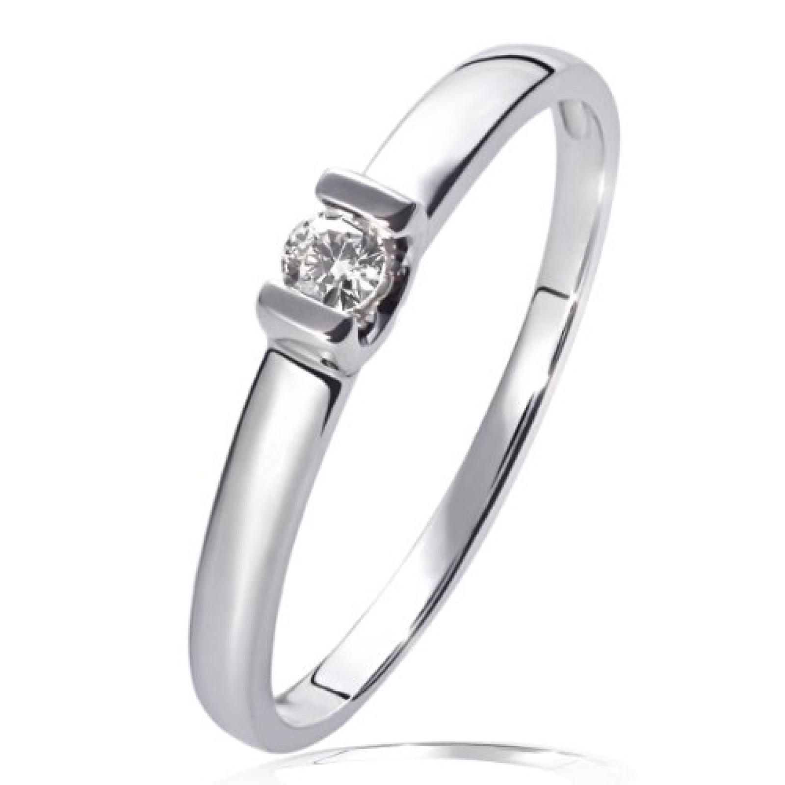 Goldmaid Damen-Verlobungsring 585 Weißgold 1 Brillant 0,08ct So R3571WG