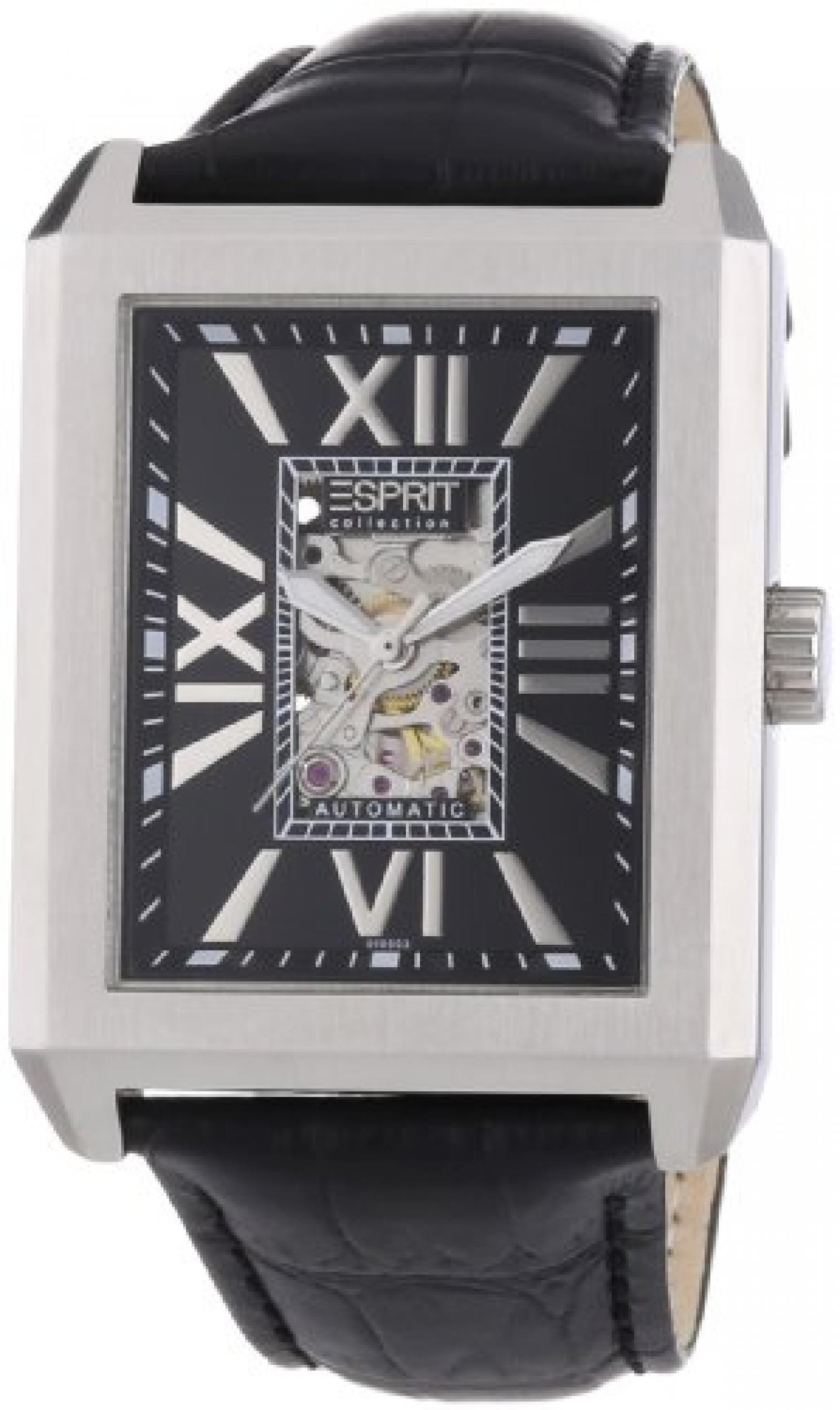 Esprit Collection Herren-Armbanduhr xanthos night Analog Automatik Leder EL101051F01