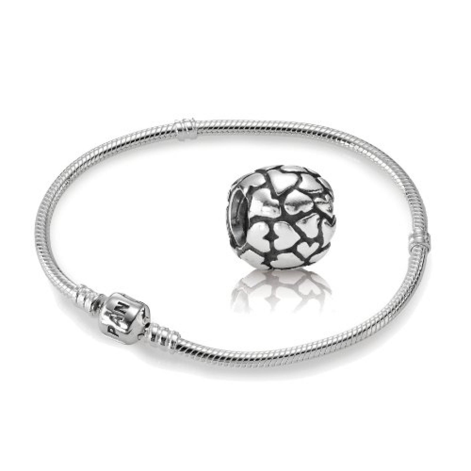 Original PANDORA Starterset / Geschenkset 925er Sterling Silber - 1 Silber Armband - Größe 21 cm - Art.Nr. 590702HV-21 und 1 Silber Charm Herzen - Art.Nr. 790174