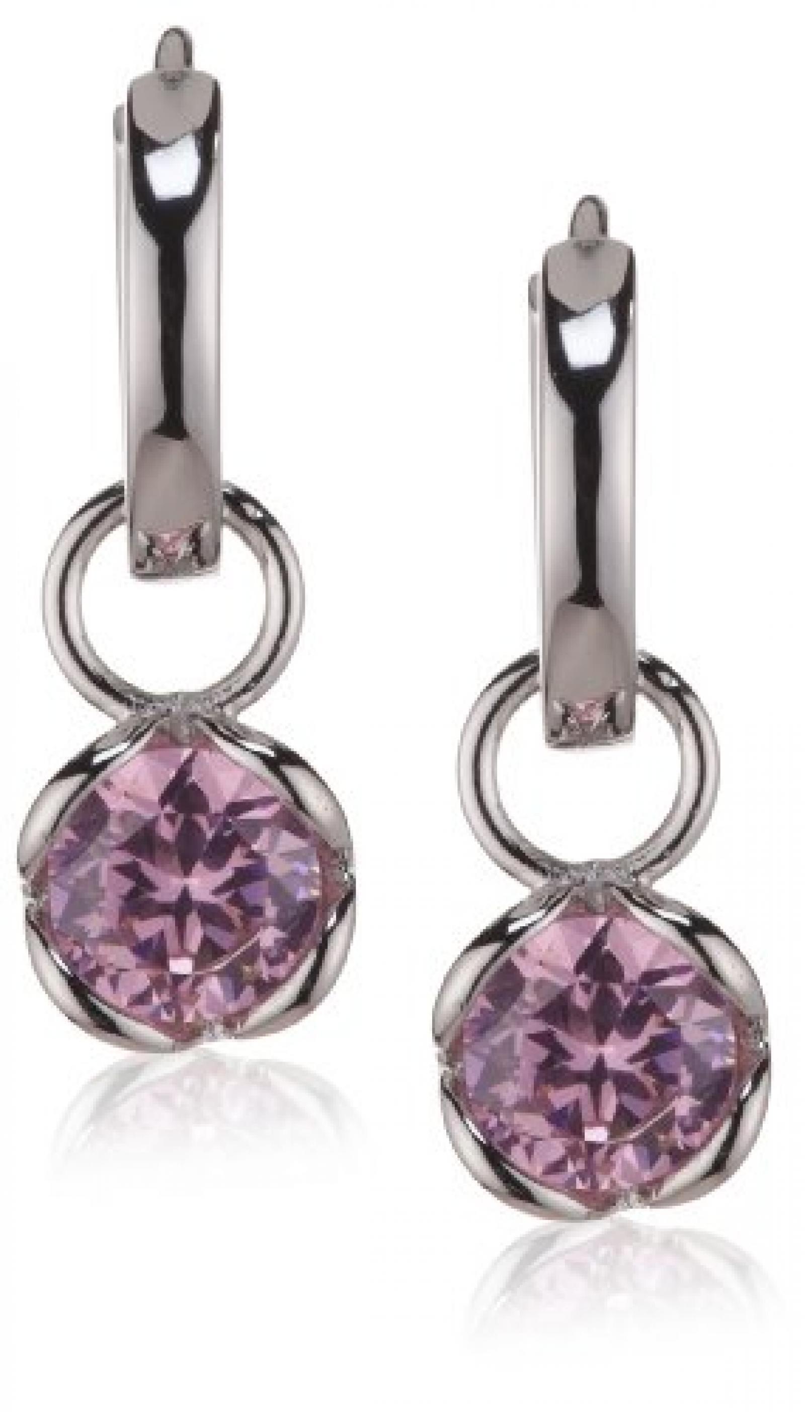 Rafaela Donata Damen-Klappcreolen Classic Collection 925 Sterling Silber Zirkonia rosé  60800221