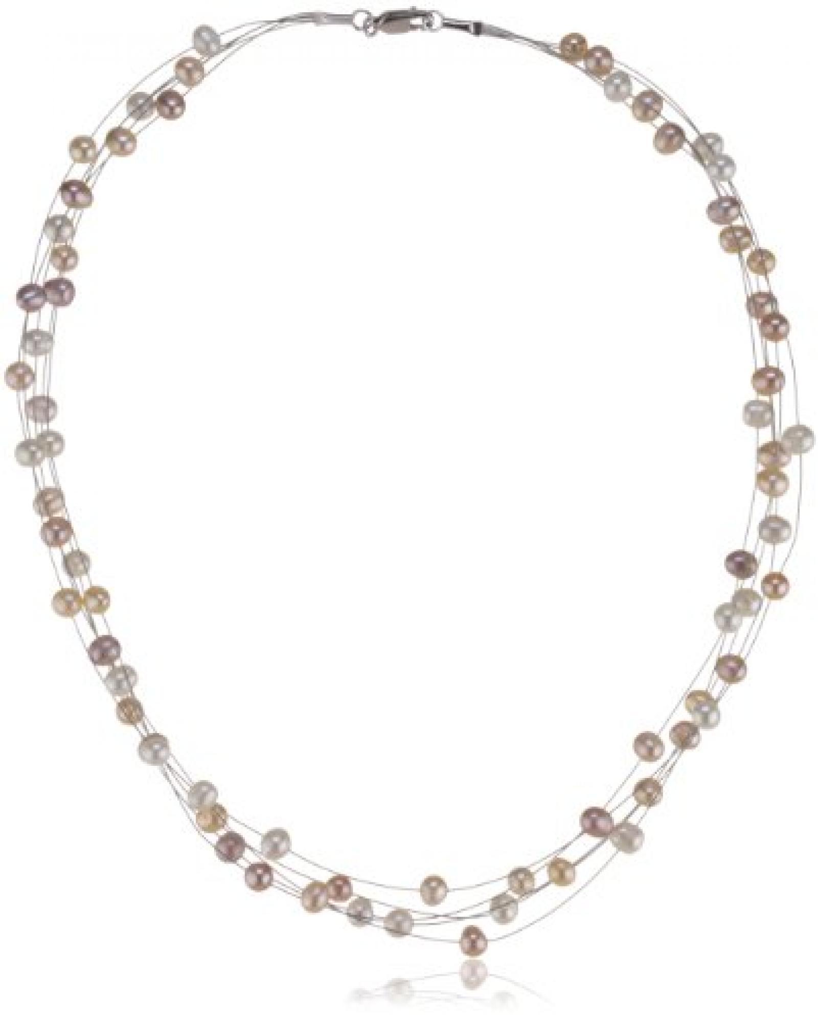 Valero Pearls Classic Collection Damen-Kette Hochwertige Süßwasser-Zuchtperlen in ca.  6 mm Oval weiß / apricot / flieder 925 Sterling Silber    43 cm