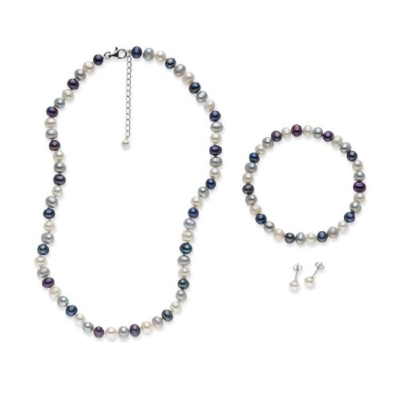 Valero Pearls 3er Set Süßwasserzuchtperlen weiß silber Kette Armband Ohrstecker Sterling Silber 925 60201781