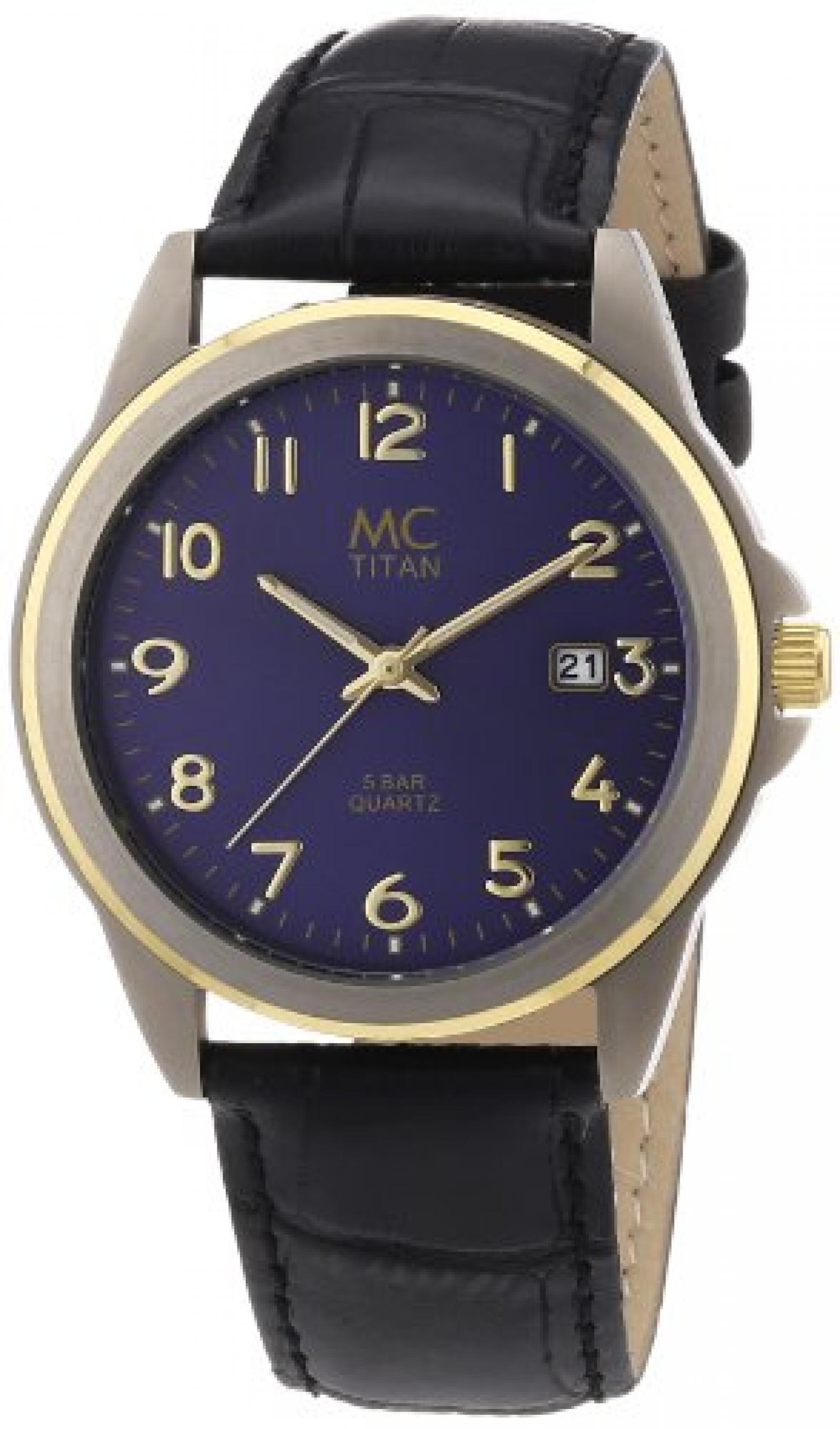 MC Timetrend Herren-Armbanduhr Analog Quarz Leder 26759