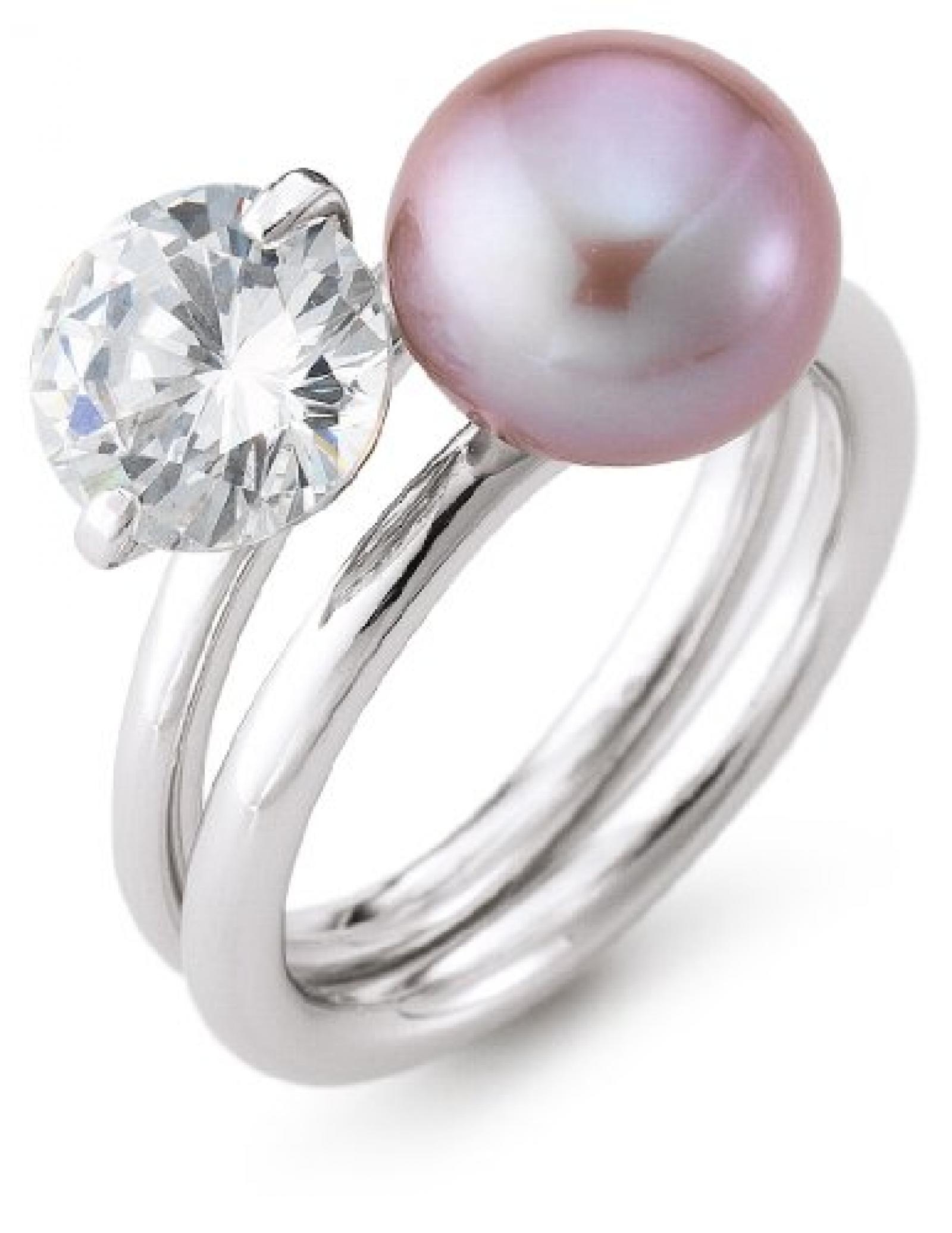 Adriana Damen-Ring Romantica Süßwasser Zuchtperle Zirkonia 2er Set 925 Sterling-Silber Gr. 58 R19-58