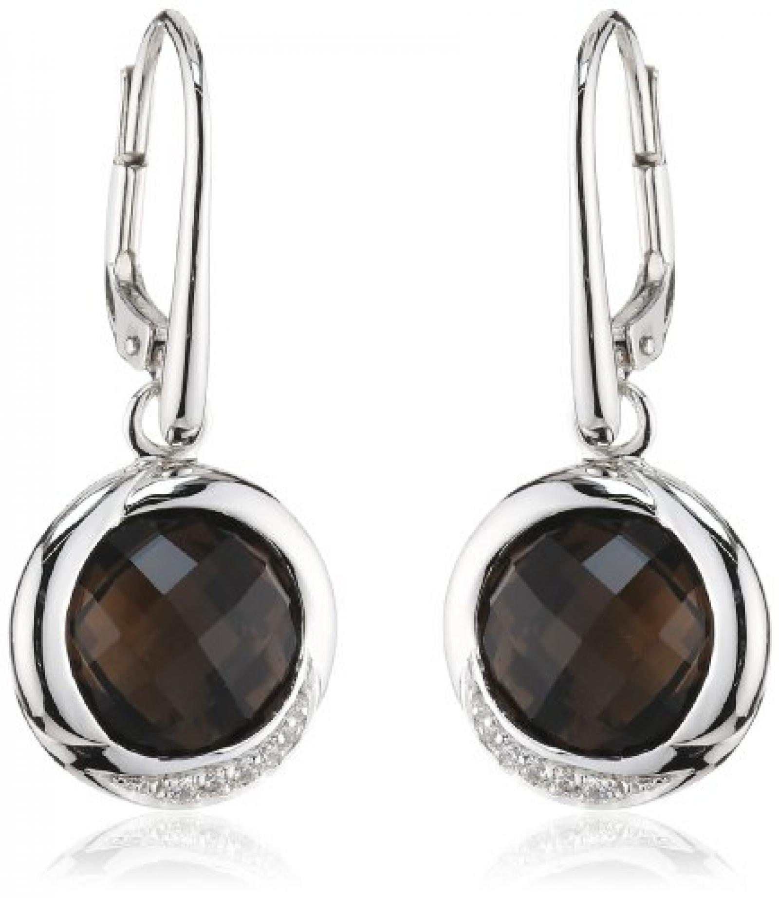 Viventy Damen-Ohrhänger 925 Sterling Silber mit 1 Zirkonia in weiss und 1 Rauchquarz in braun 764394