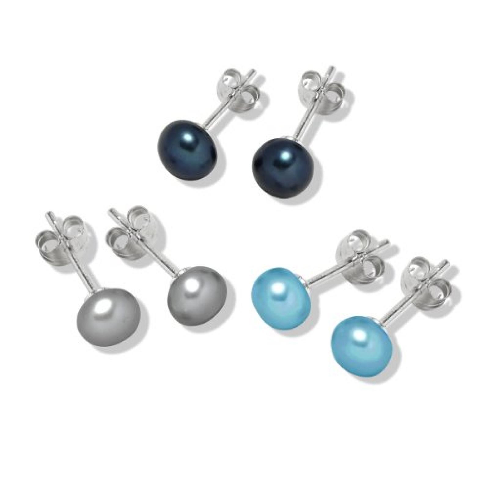 Valero Pearls Fashion Collection Damen-Set: 3 Paar Ohrstecker Hochwertige Süßwasser-Zuchtperlen in ca.  7 mm Button blau 925 Sterling Silber       60020079