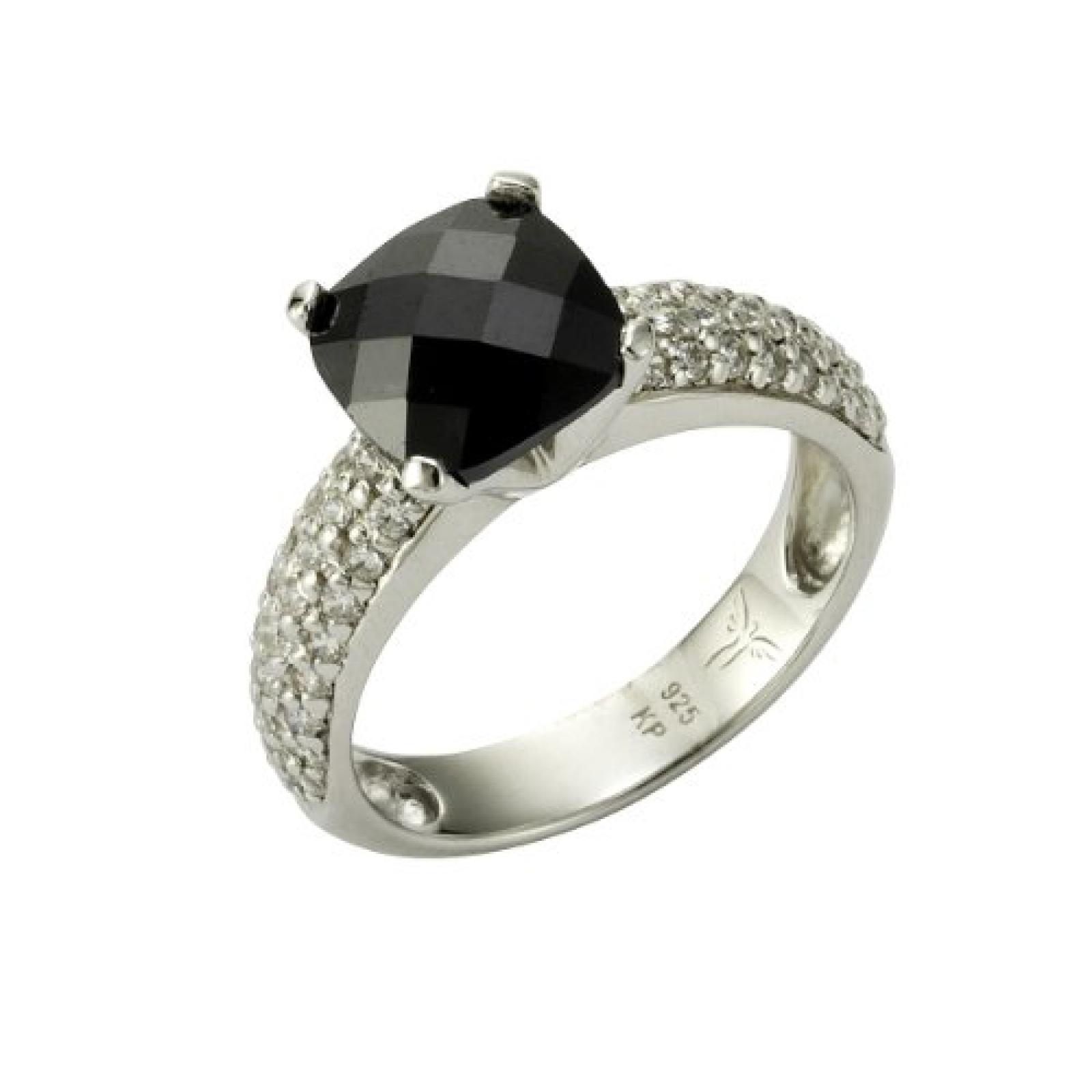 Celesta Damen-Ring 925 Sterling SilberZironia schwarz + weiß 273270874-1