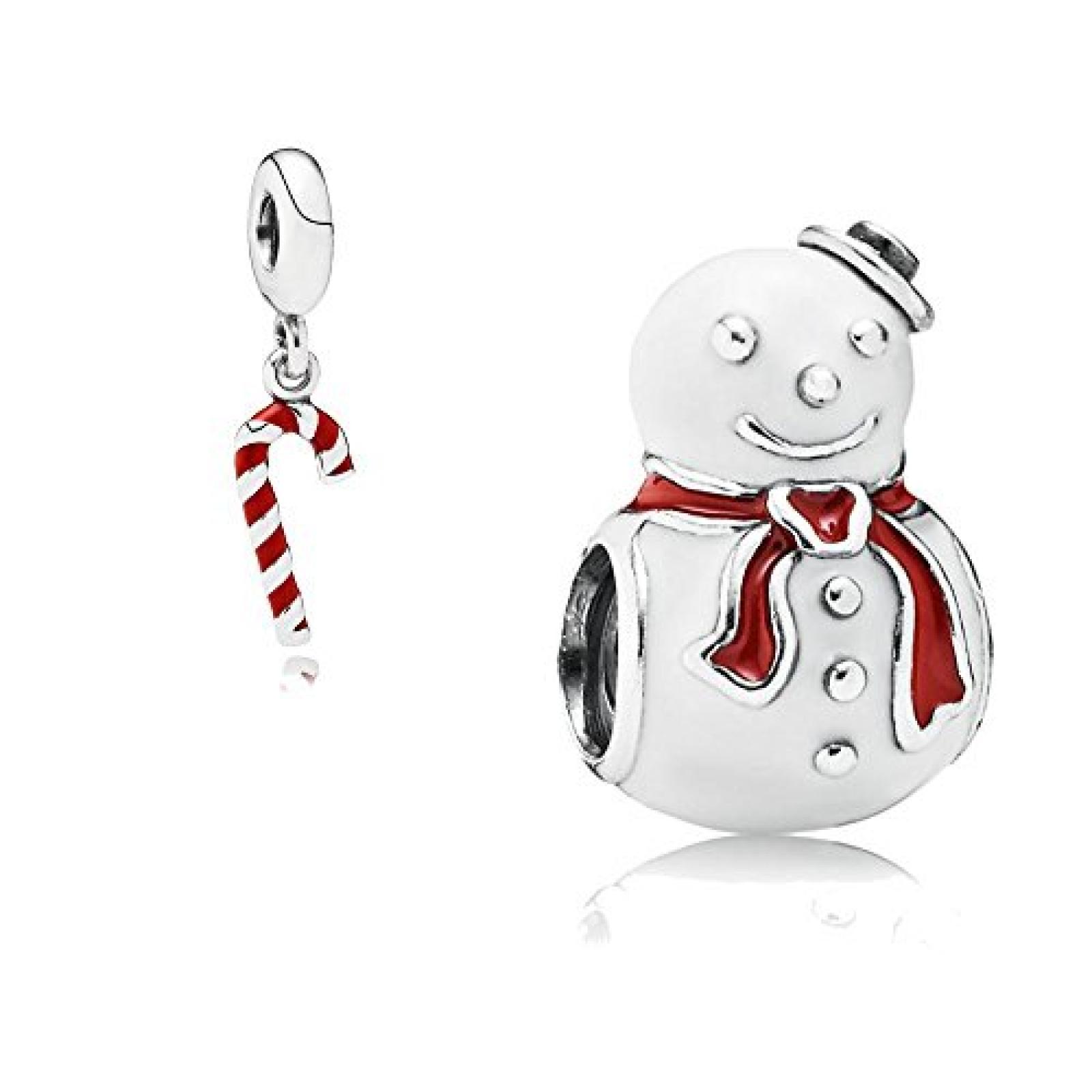 Original Pandora Geschenkset - 1 Silber Element Glücklicher Schneemann mit roter und weißer Emaille 791406ENMX und 1 Silber Pendel Zuckerstange mit roter Emaille 791193EN09