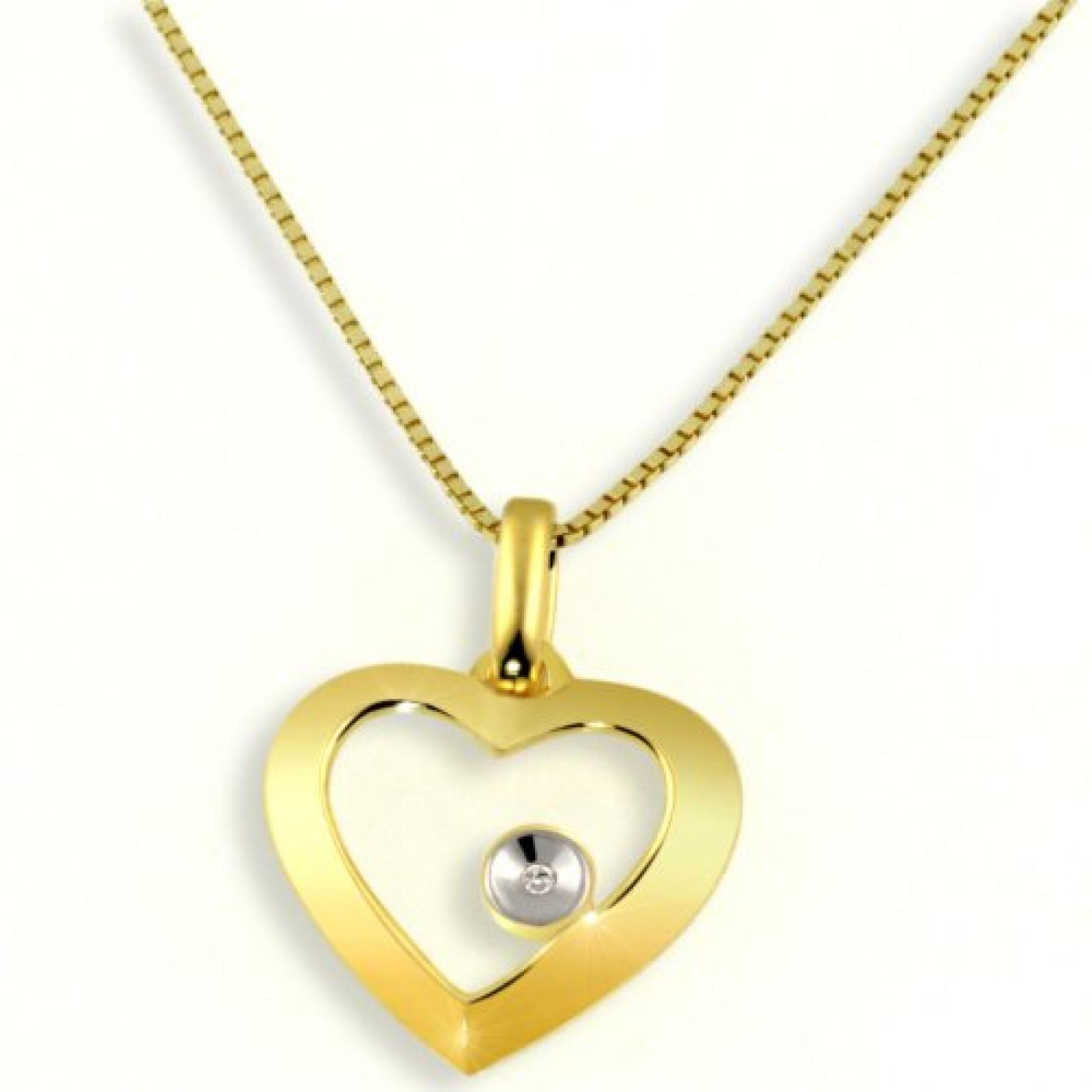 Goldmaid Damen-Collier Herz 585 Gelbgold Diamant 0,005ct  45cm HeC3705GG