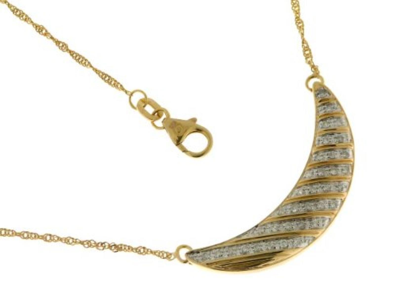 Kettenworld Damen-Halskette mit Anhänger 14 Karat 585 Gelbgold Brillant 0,25 ct. 312793
