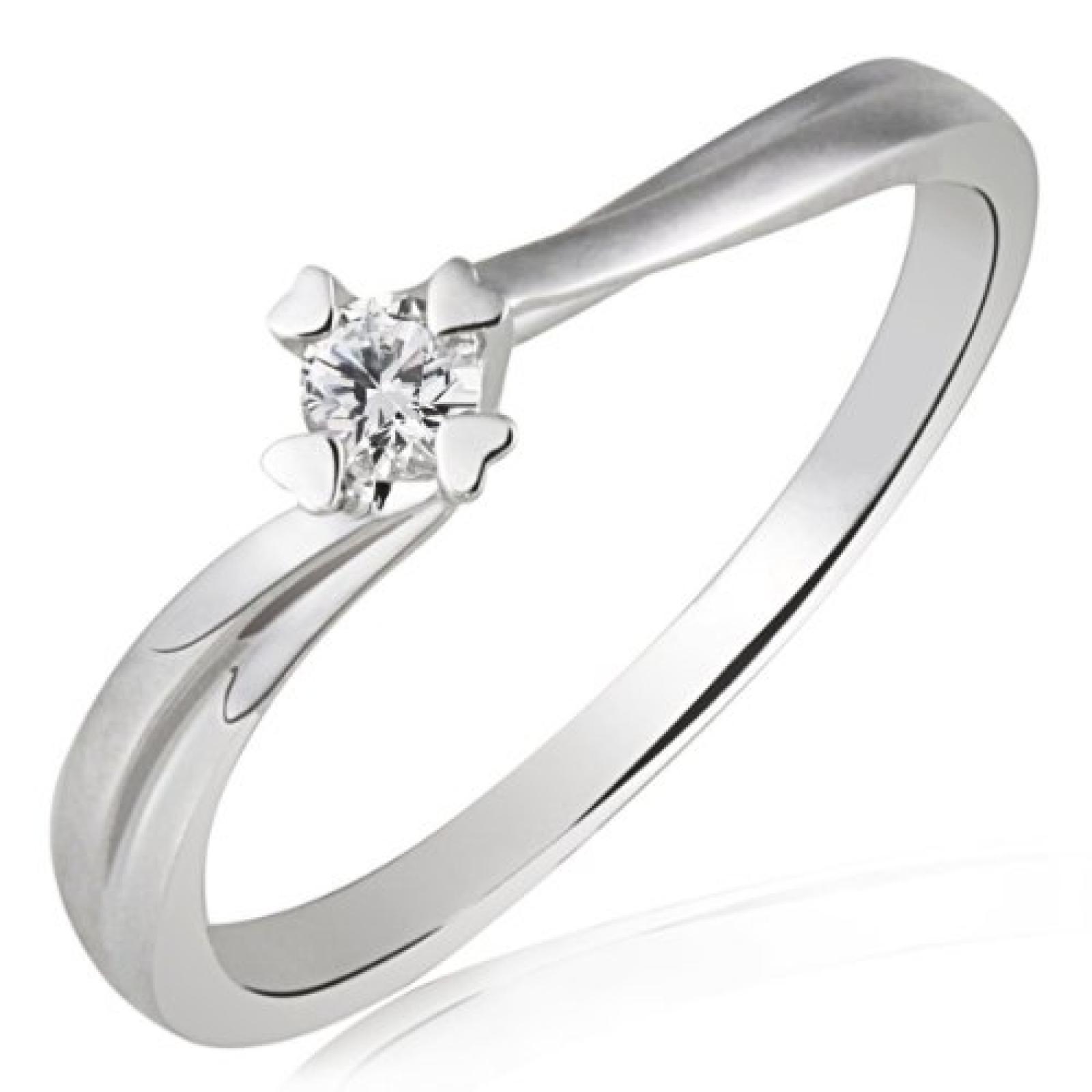 Goldmaid Damen-Verlobungsring 585 Weissgold 1 Brillant 0,10ct So R4682WG