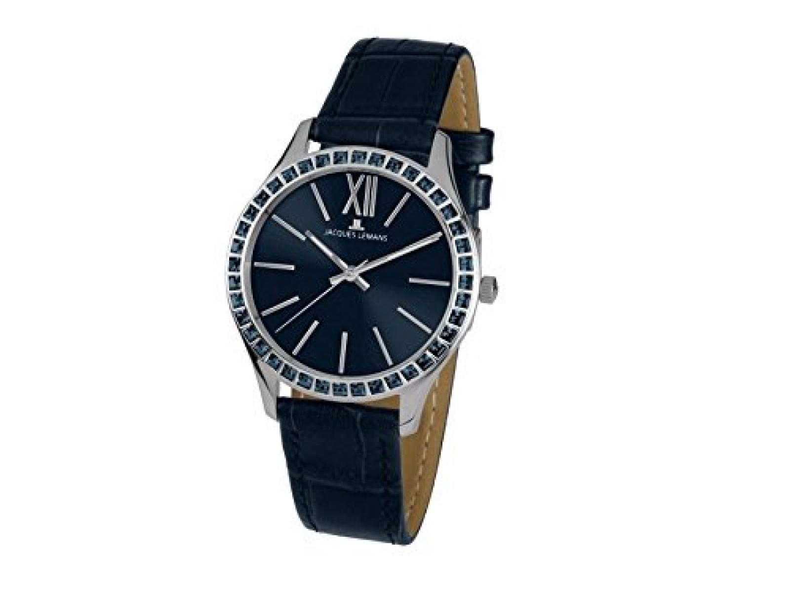 Jacques Lemans 1-1841K ROME Uhr Damenuhr Lederarmband Edelstahl 100m Analog Zirkonia blau