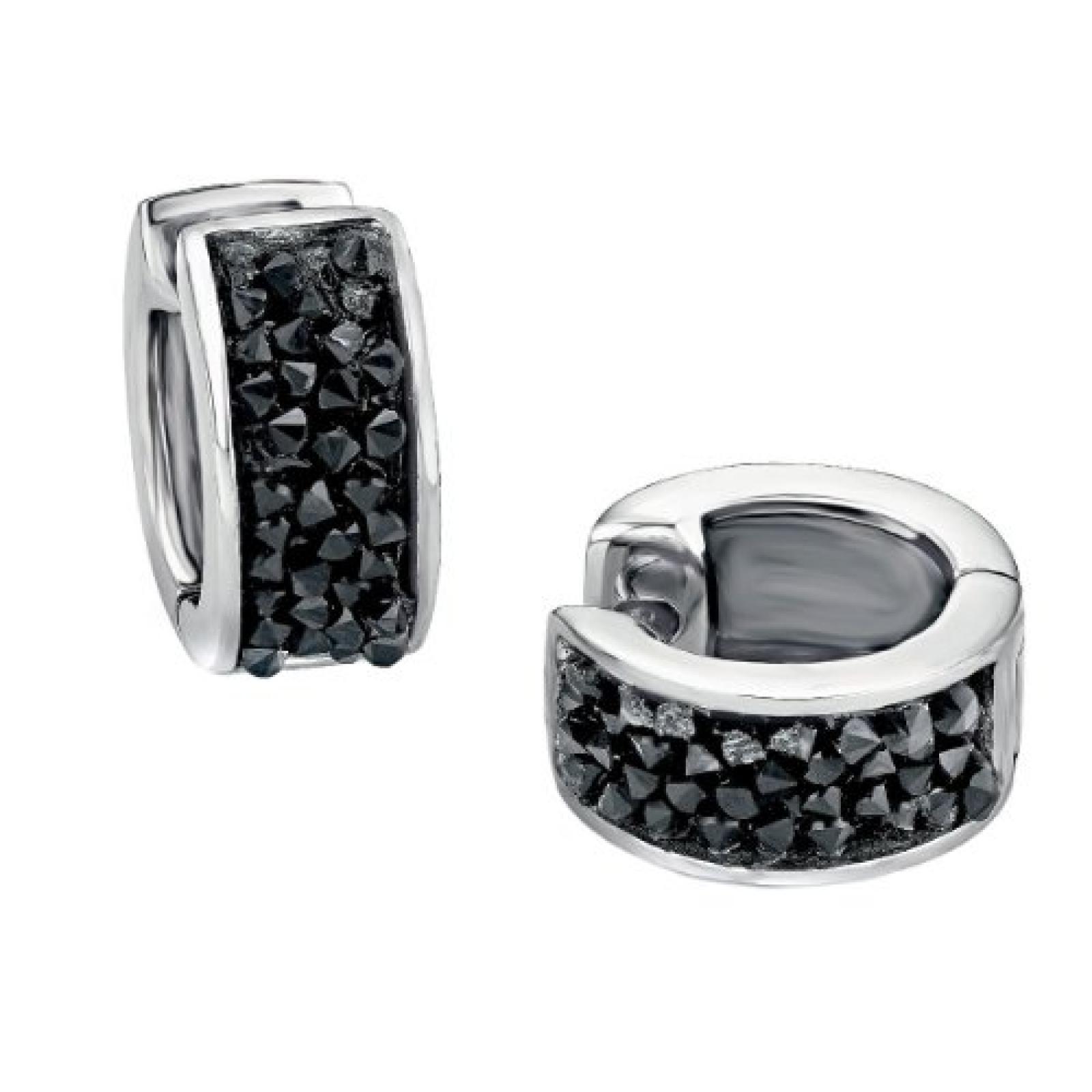 s.Oliver Damen-Creolen Edelstahl Swarovski-Kristall schwarz 463324