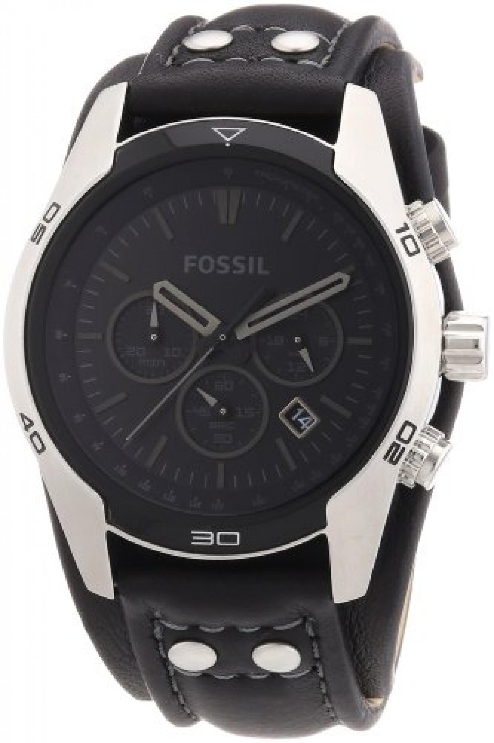 Fossil Herren-Armbanduhr Sport Leder schwarz Chronograph Quarz CH2586