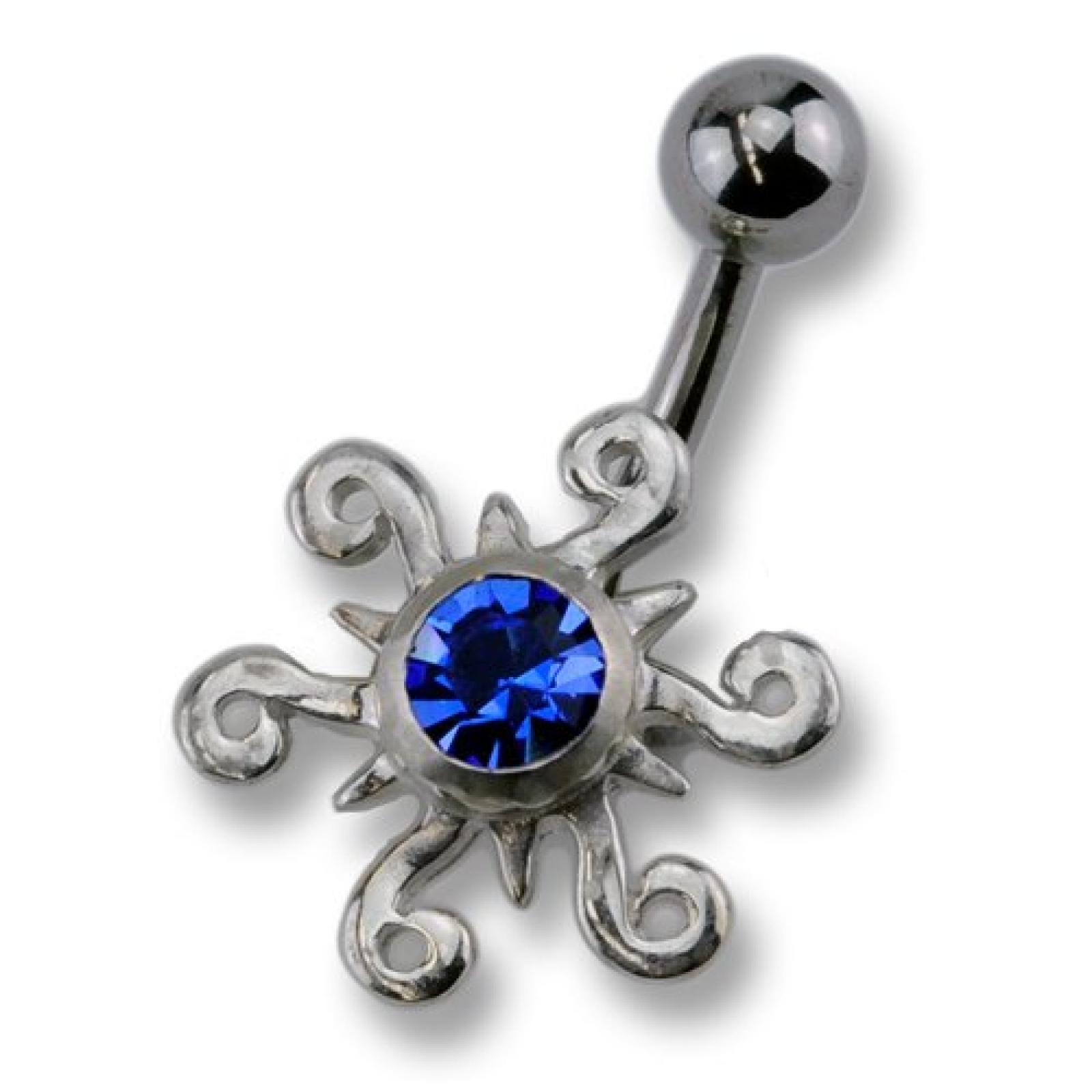 Zeeme Unisex-Piercing 10mm 925/- Sterling Silber Und Dunkelblauen Kristallen 159200306-7