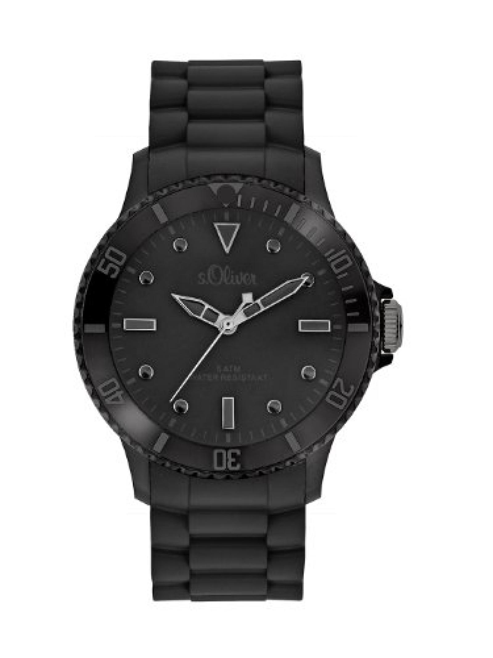 s.Oliver Unisex-Armbanduhr Big Size Silikon schwarz SO-2320-PQ